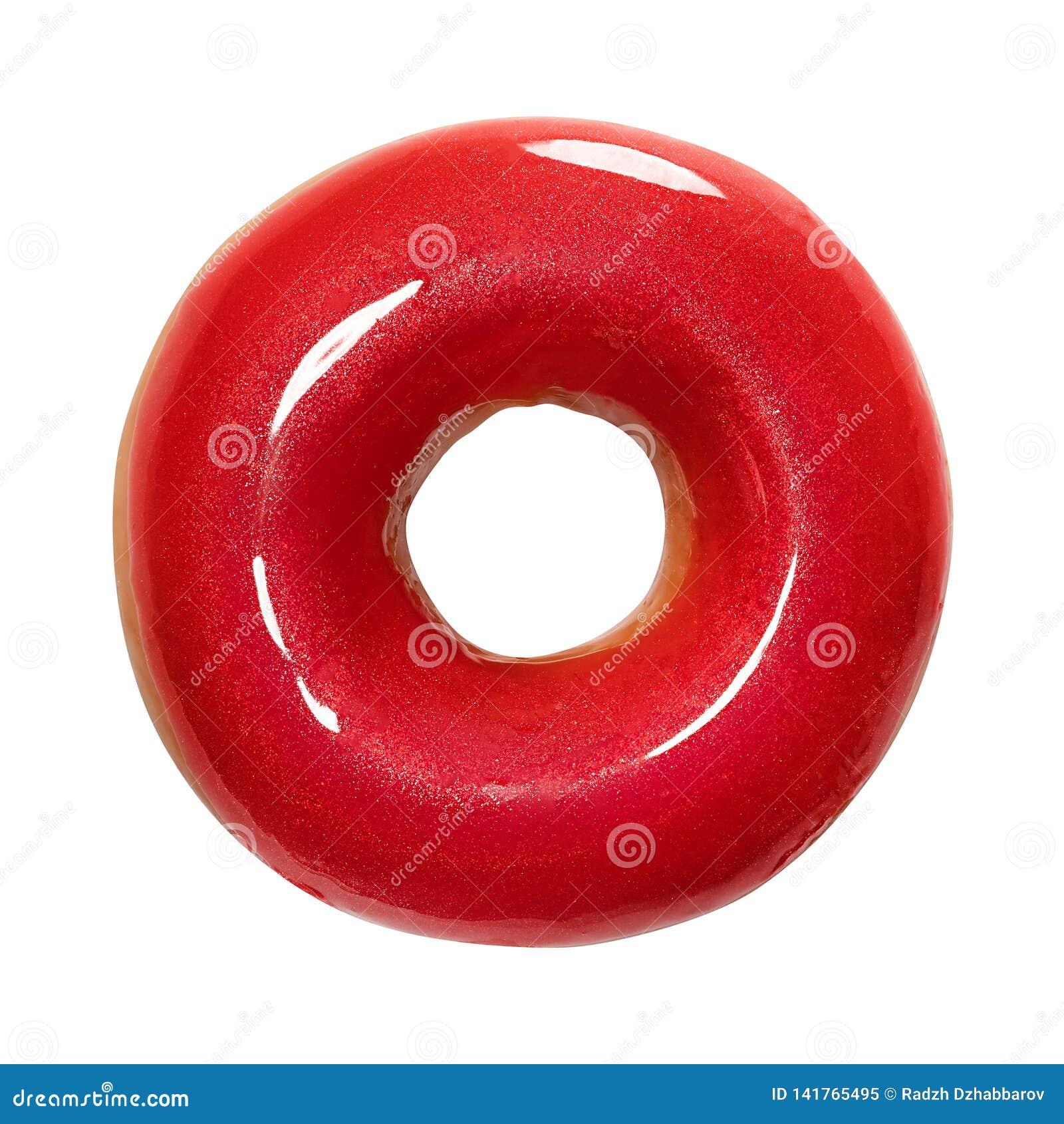 与在白色背景隔绝的红色光滑的釉的多福饼 一个圆的红色多福饼 正面图 顶视图