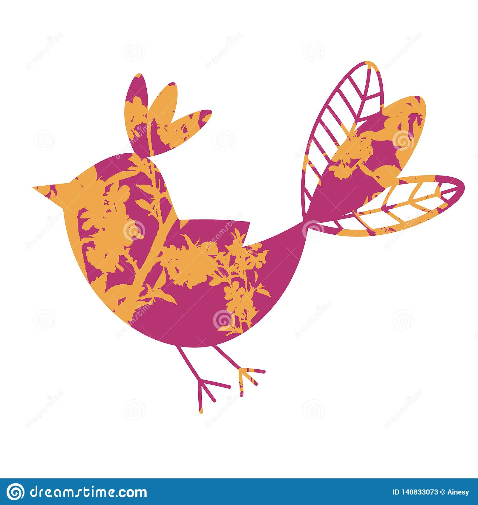 与在白色背景隔绝的花饰的逗人喜爱的五颜六色的热带飞鸟