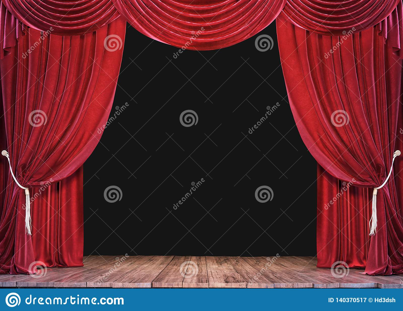 与木板条地板和开放红色帷幕的空的剧院阶段