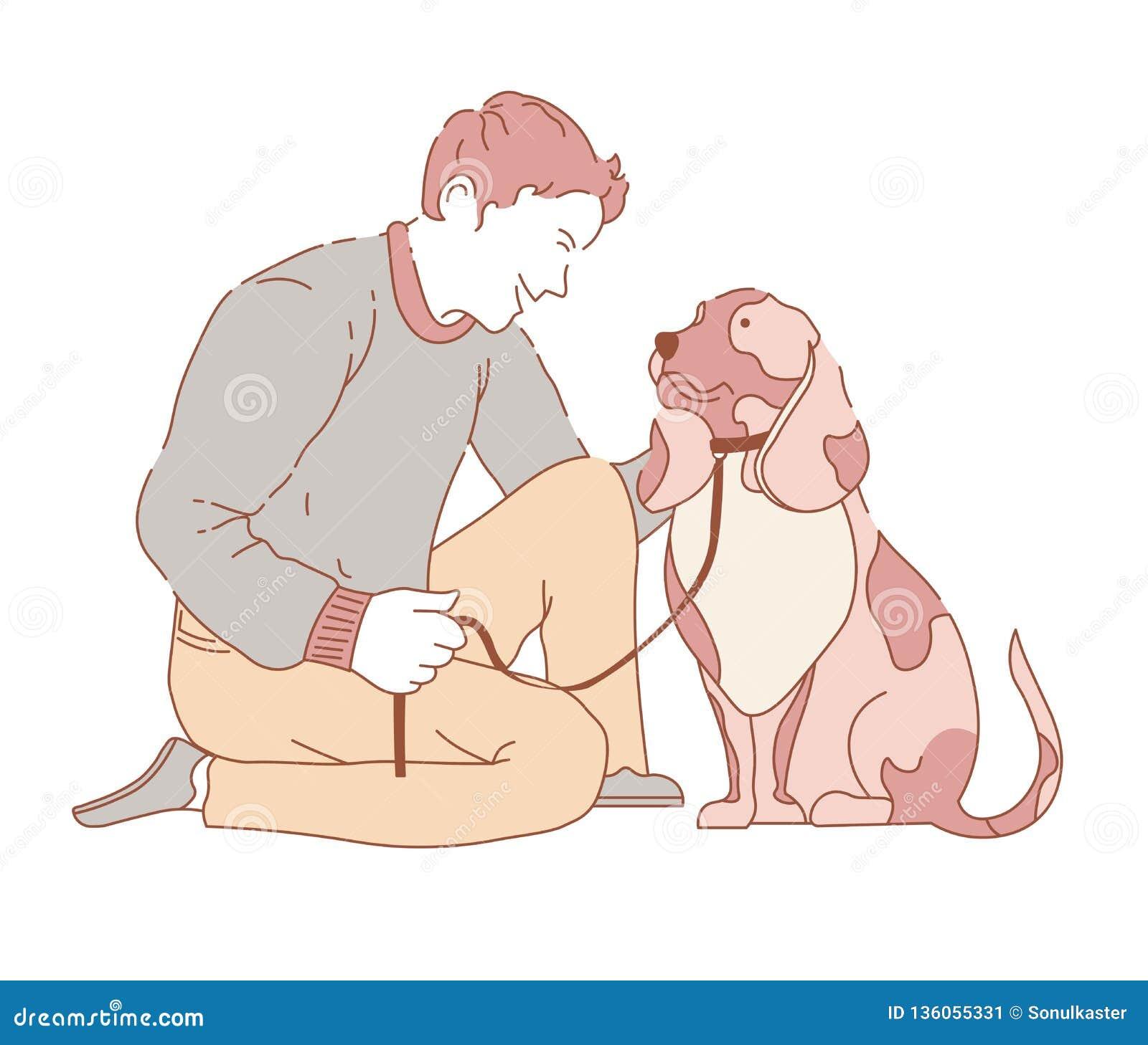 与狗犬佩带的衣领的男性消费的时间