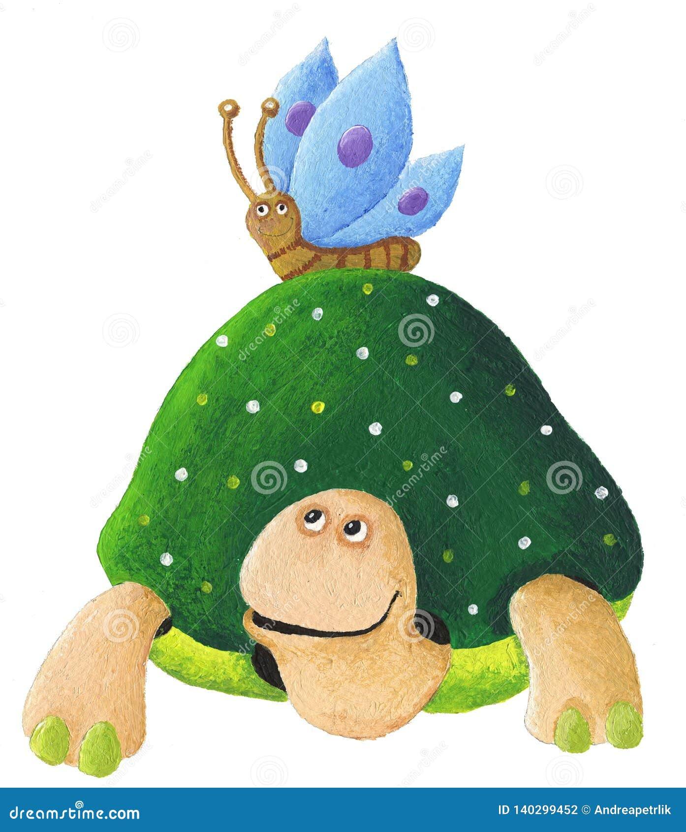 与蓝色的绿海龟蝴蝶
