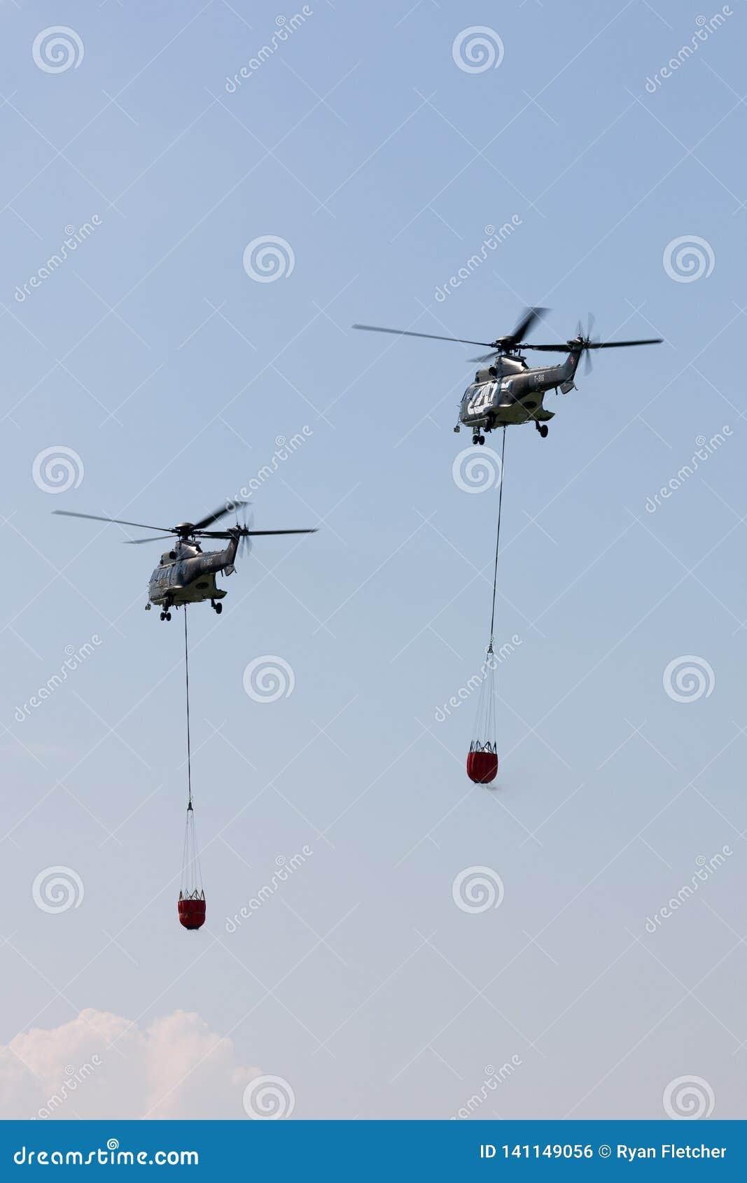 与bambi桶的瑞士空军队法国航太公司AS332 TH89军事公共直升机T-320和T-316飞行空中火的f