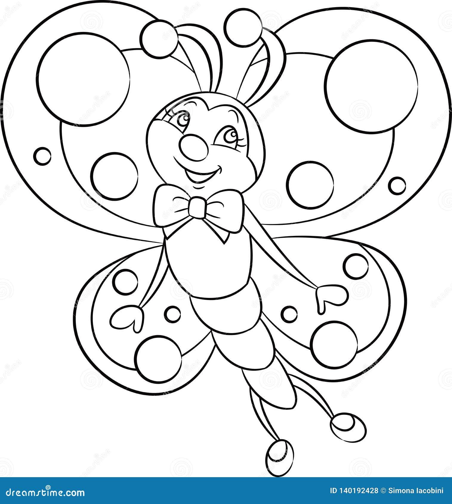 一只小的蝴蝶的黑白,等高kawaii图画,儿童的彩图或上色比赛的