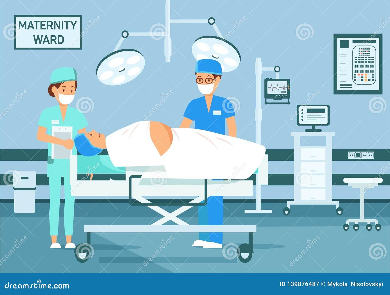 产科医生出席分娩平的例证