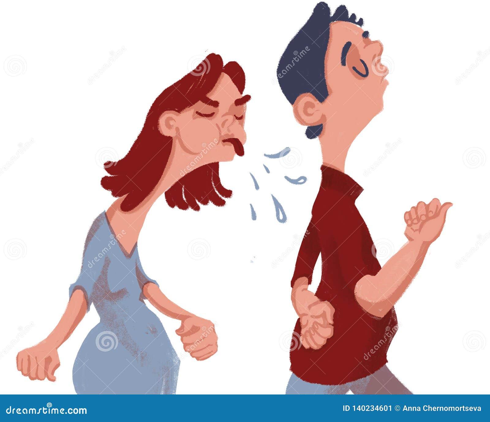 争吵 女孩恼怒并且生气在人