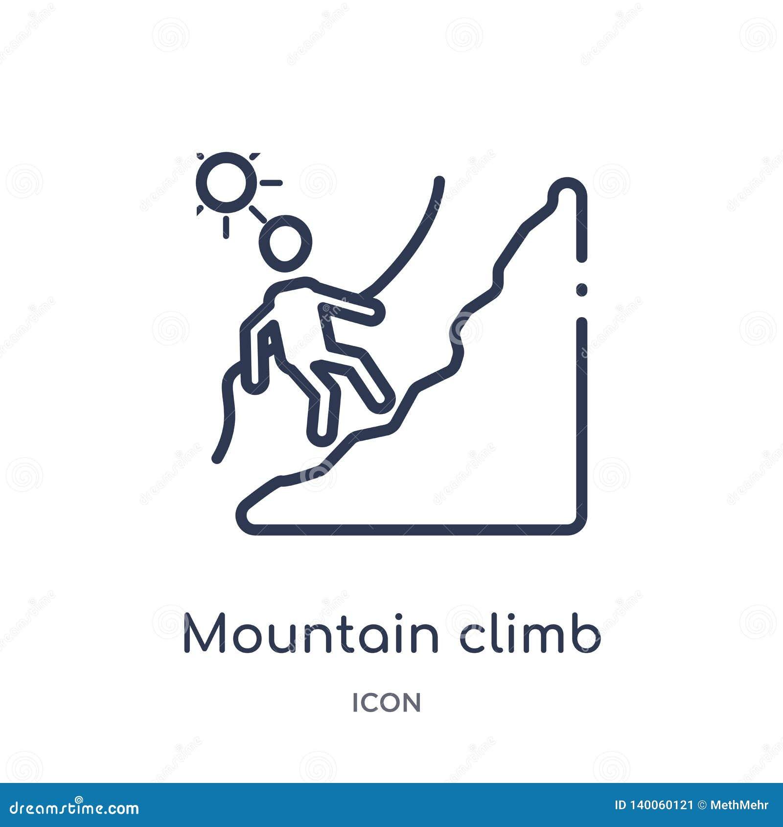 从人概述汇集的线性山攀登象 稀薄的线山在白色背景隔绝的攀登象 山