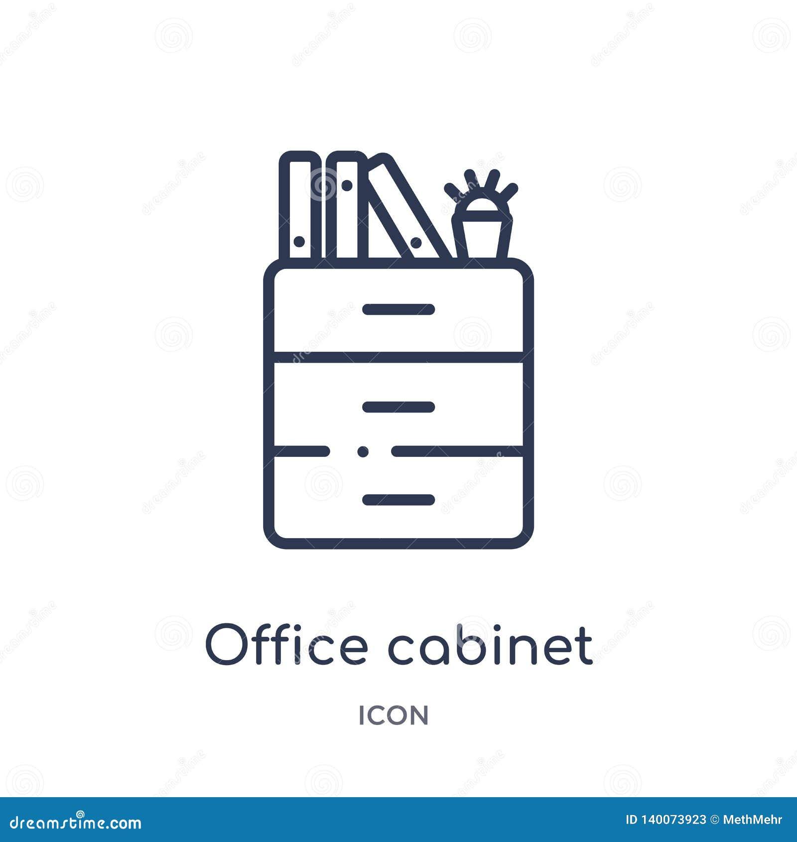 从大纲汇集的线性办公室内阁象 稀薄的线办公室在白色背景隔绝的内阁象 办公室