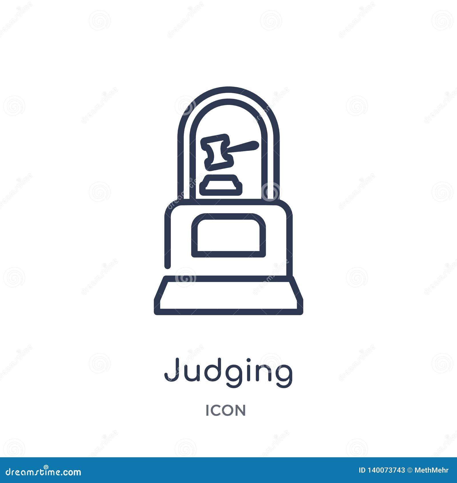 从大纲汇集的线性判断的象 判断象的稀薄的线被隔绝在白色背景 判断时髦