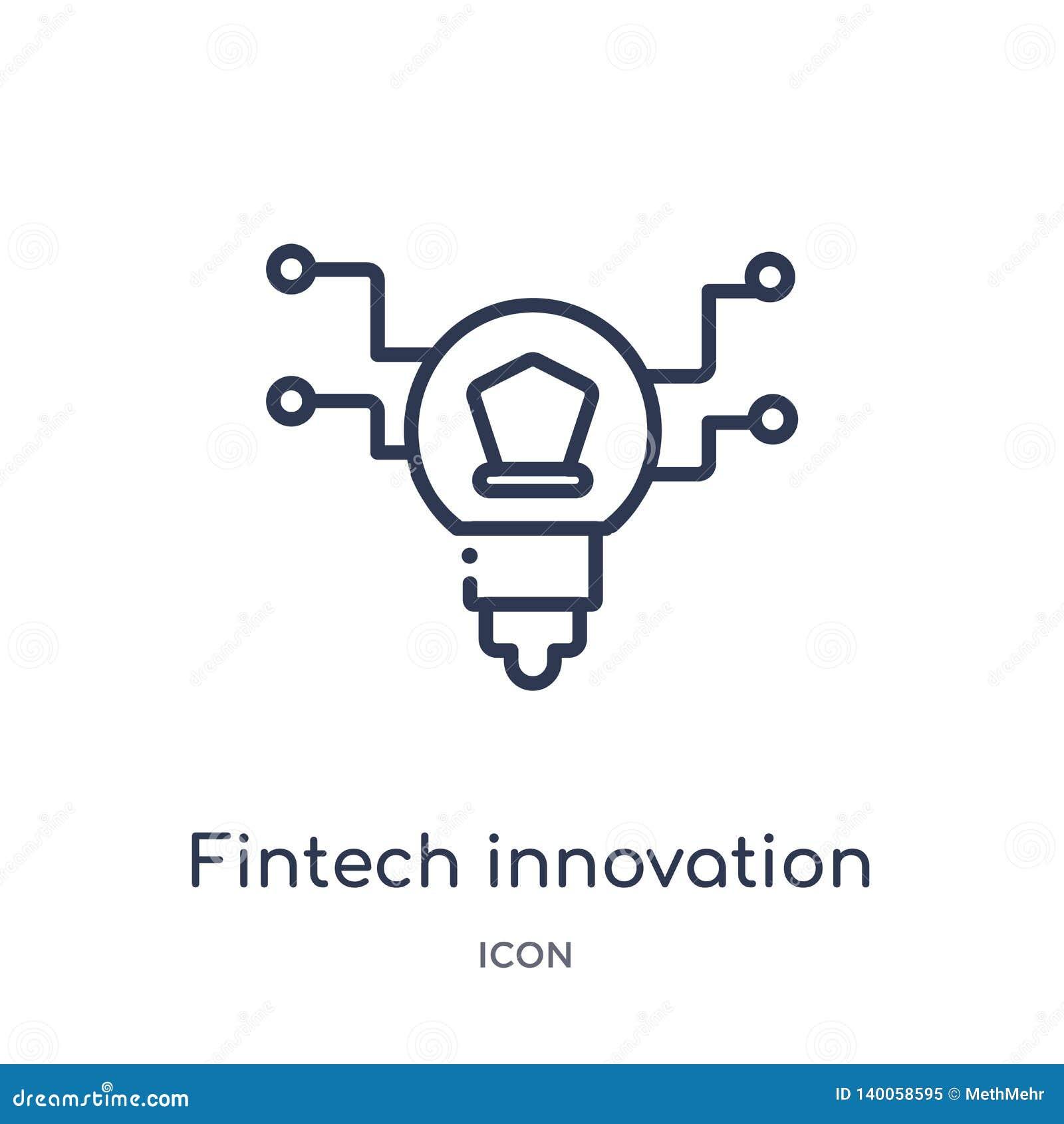 从大纲汇集的线性fintech创新象 稀薄的线fintech在白色背景隔绝的创新象