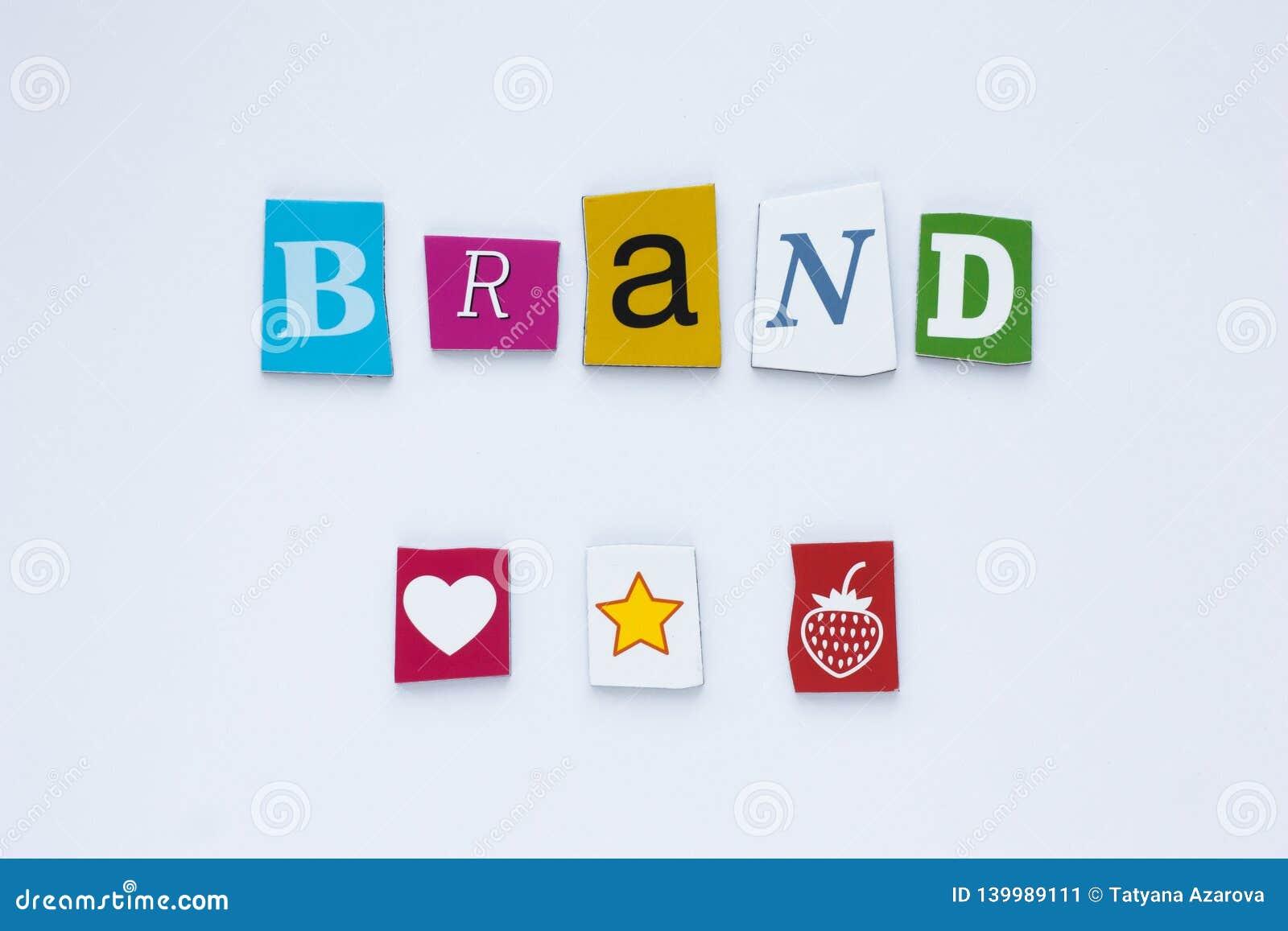 从被削减的信件的词品牌在白色背景 球尺寸三 艺术设计 品牌身份大模型概念 抽象五颜六色