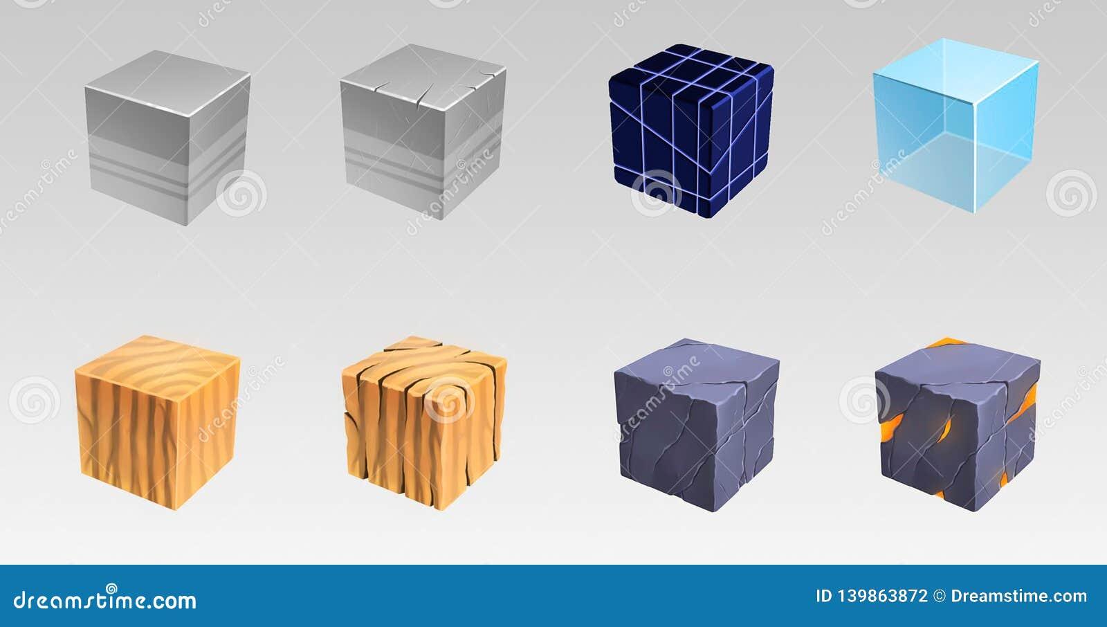 从许多材料的立方体 艺术例证