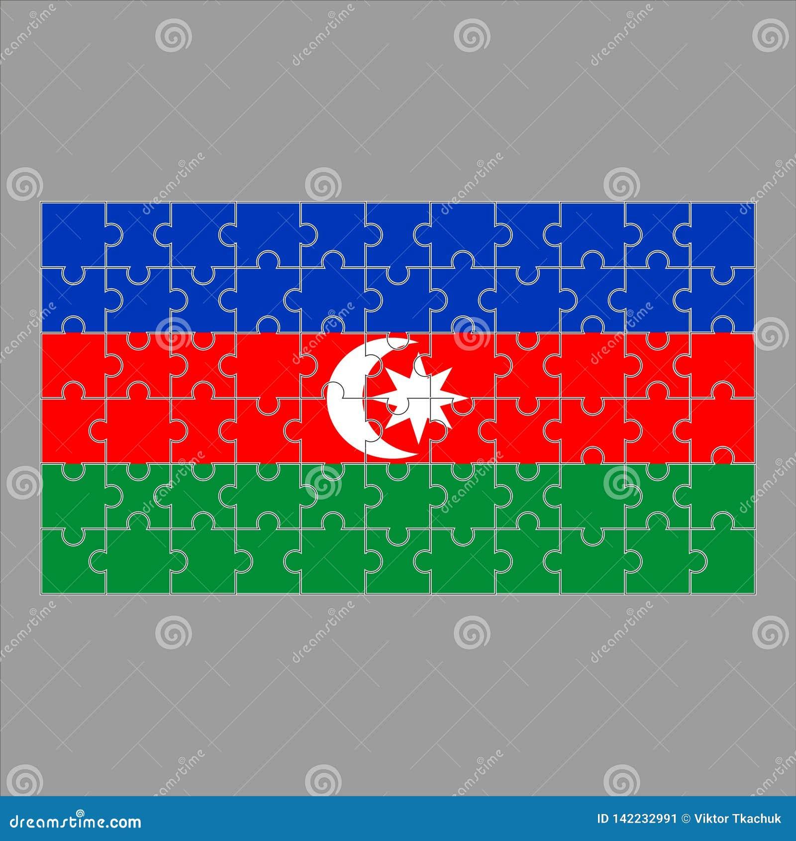 从难题的旗子Azeybardjan在灰色背景