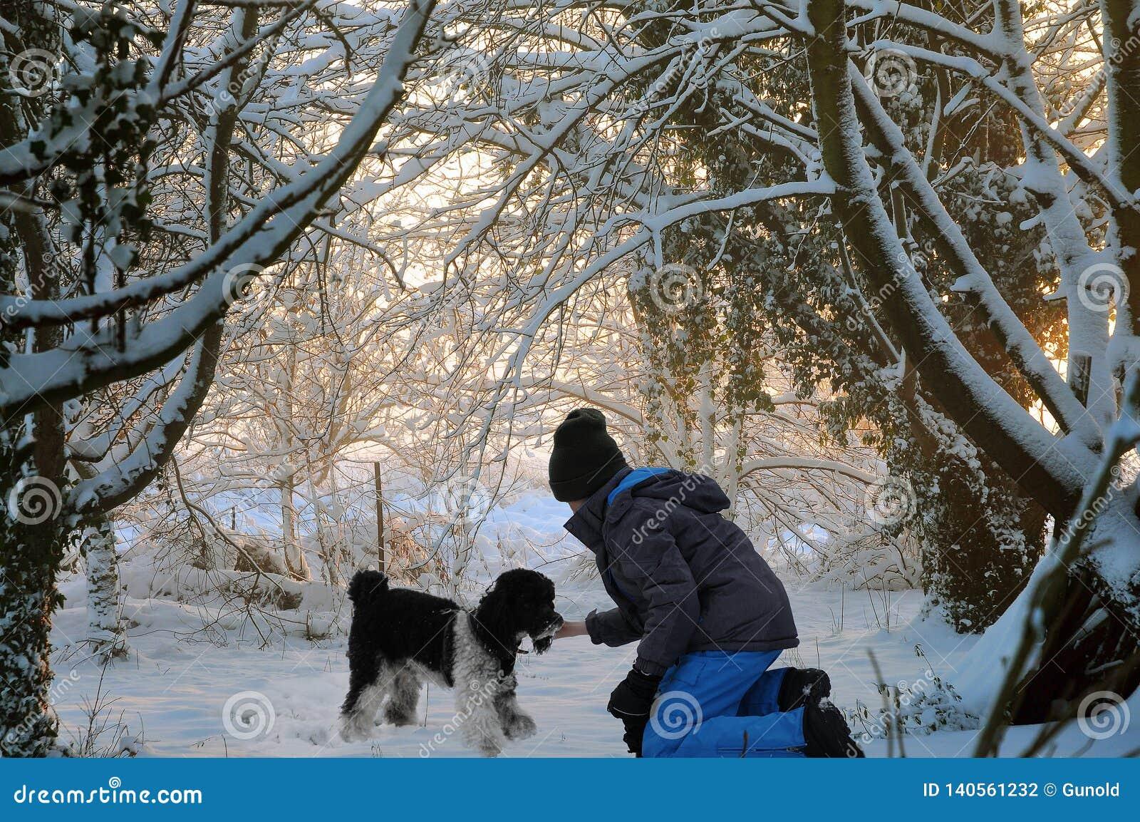 使用在的愉快的朋友在雪