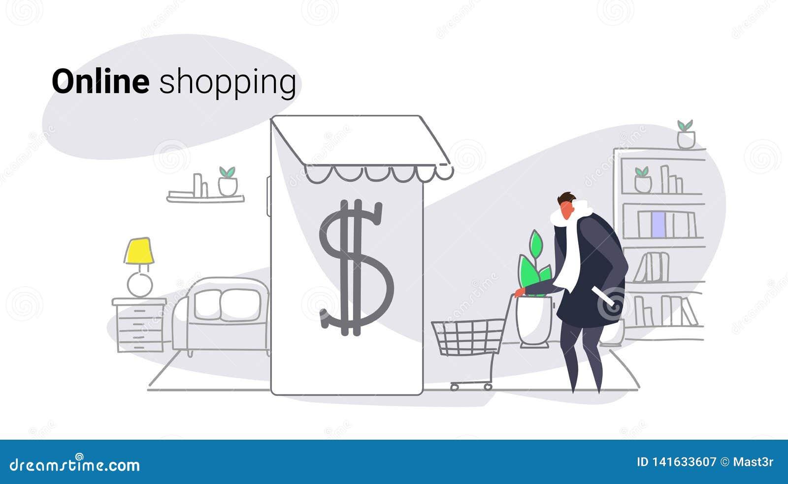使用流动现代应用网上市场购物的概念男性顾客藏品台车卡片智能手机的屏幕的人