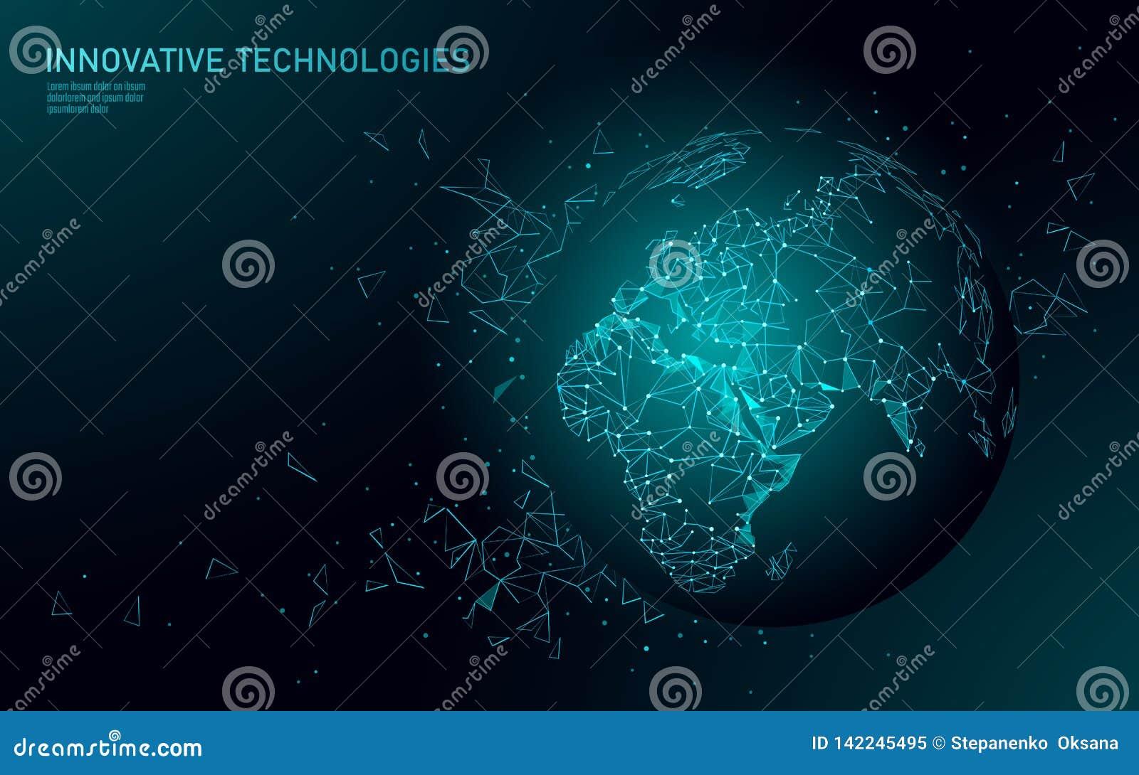 低多行星地球全球企业连接 全球性网上网络世界地图欧洲非洲大陆 国际
