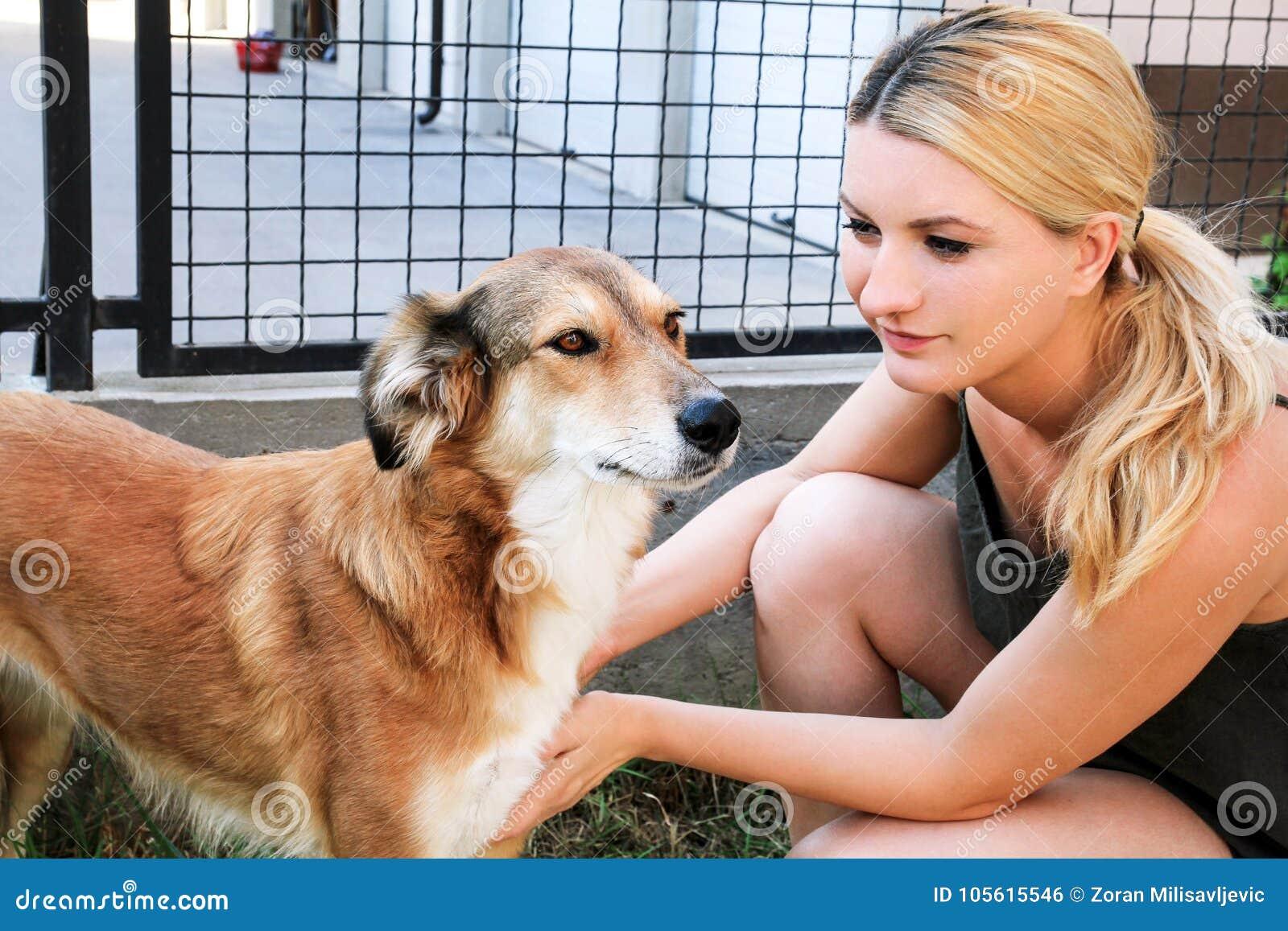 Ägare som daltar hunden Kvinnlig ägare av att dalta deras hund i trädgård