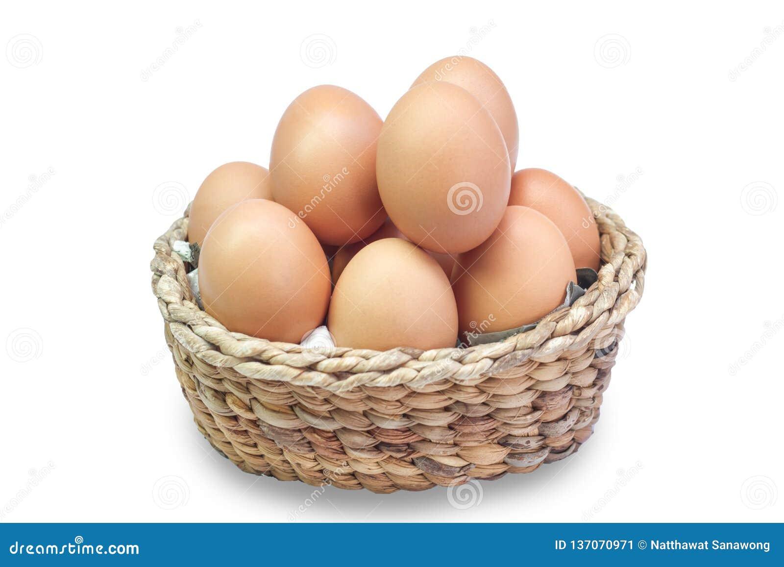 Ägg i en korg på vit bakgrund