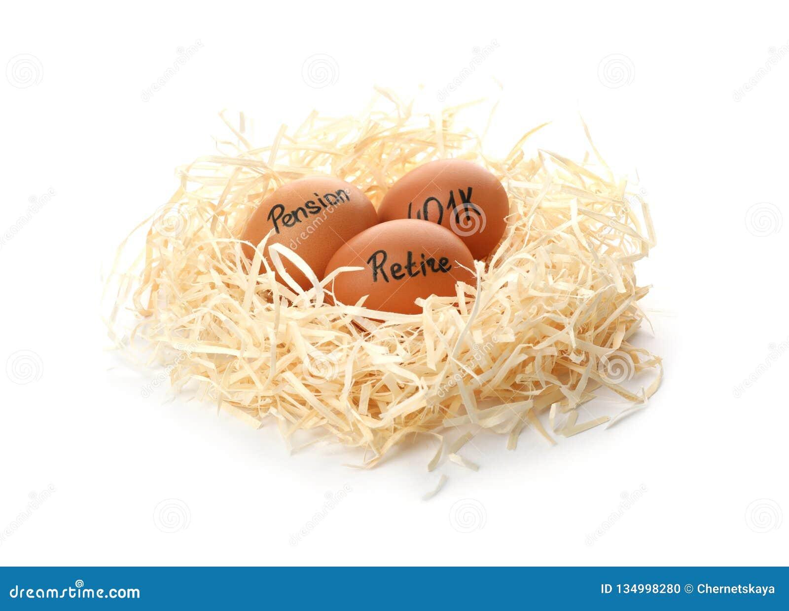 Ägg med ord PENSION, RETRÄTTSIGNAL och 401k i rede