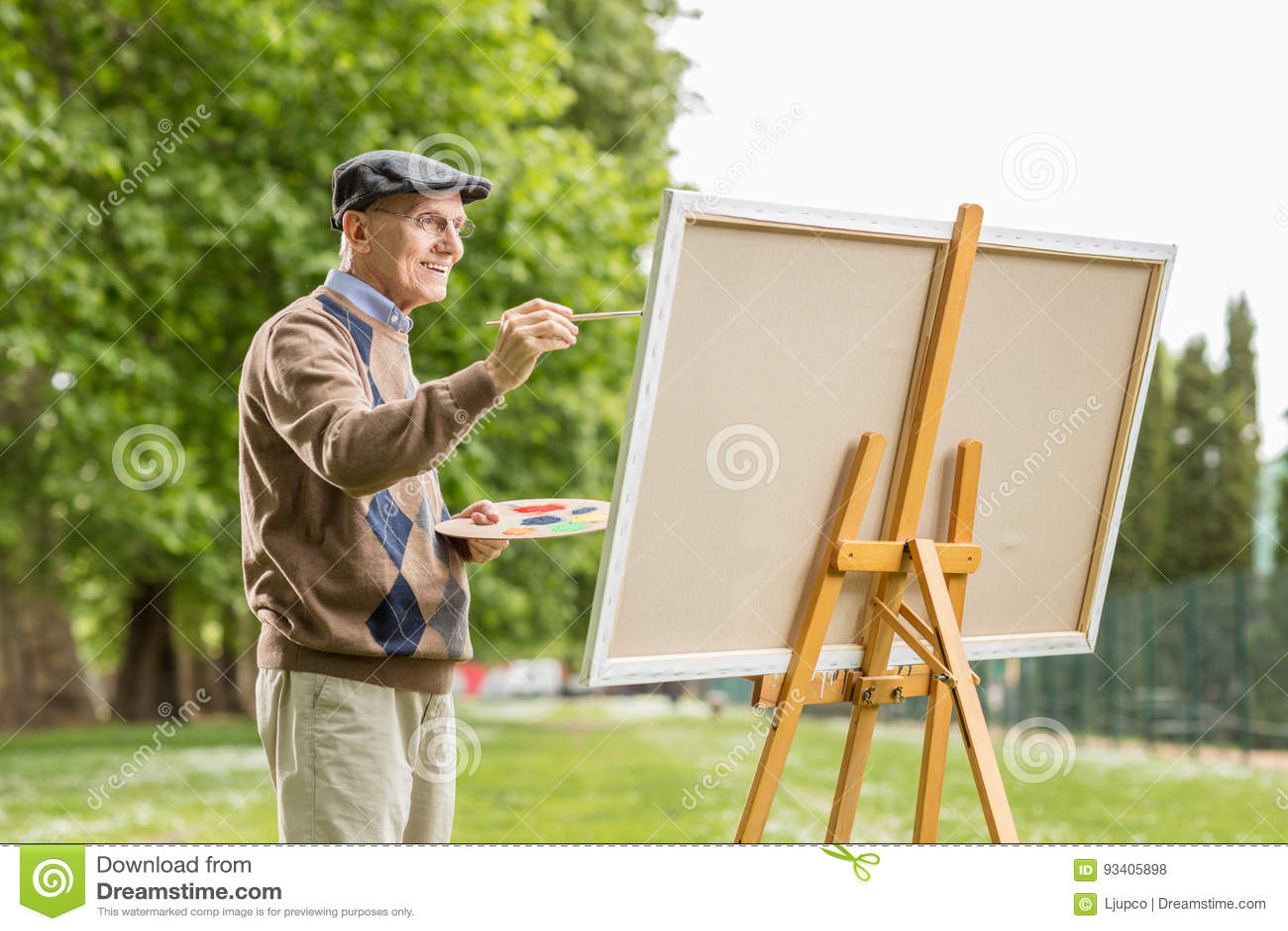 Äldre manmålning på en kanfas