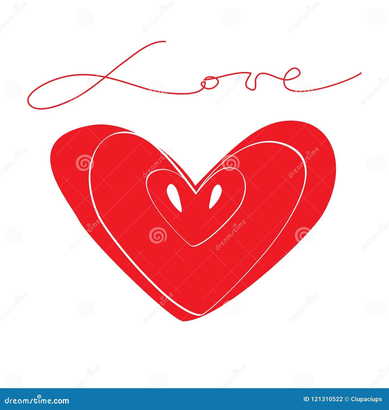 Älska röd hjärta för symbolet med calligraphic ord och frö Partnerskap och fruktbarhet