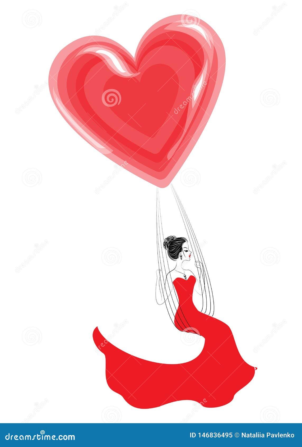 Älskvärd ung dam i en röd klänning En flicka sitter på en gunga och flyger på en ballong i formen av en hjärta ocks? vektor f?r c