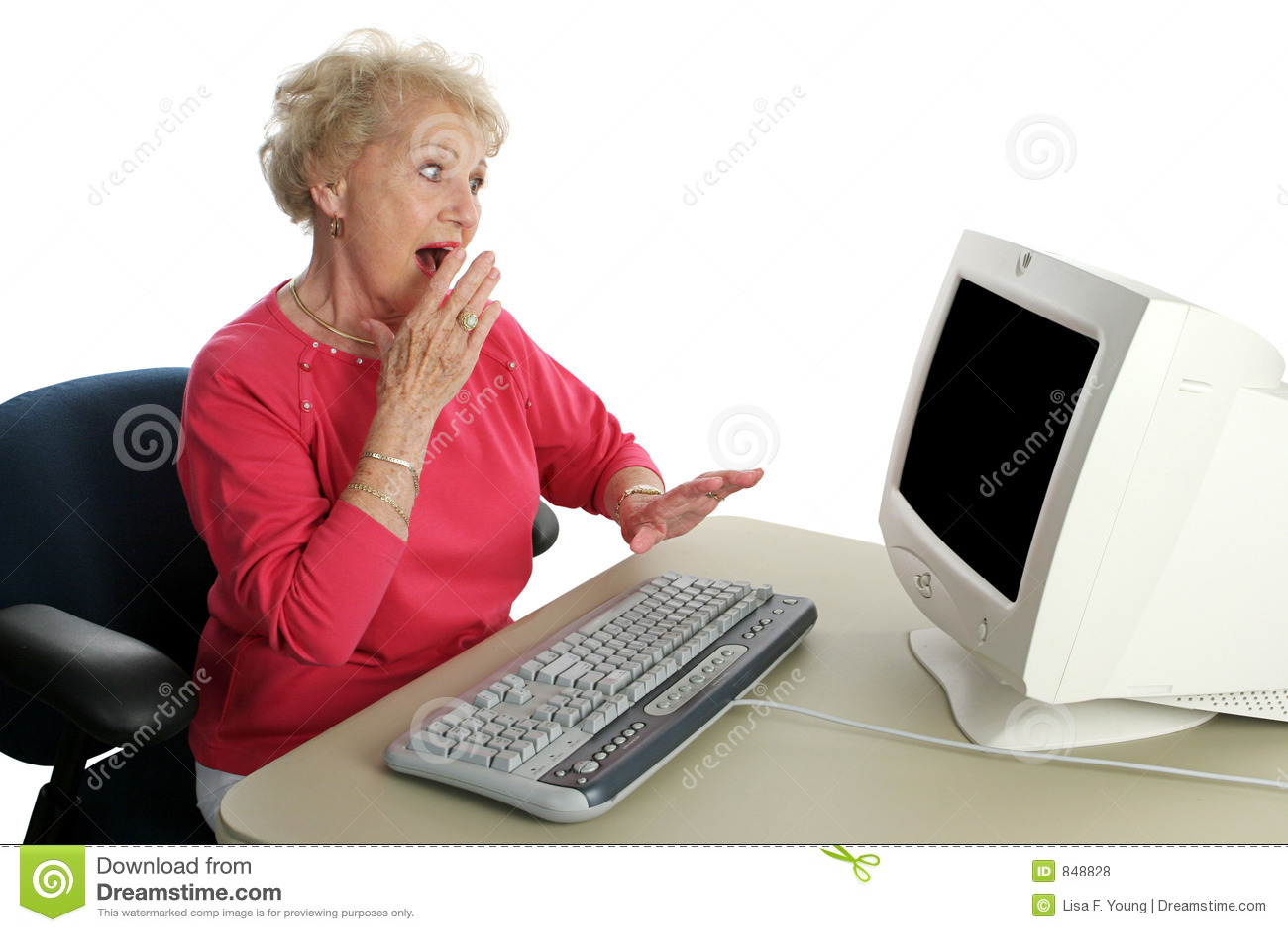 Ältere Dame Online - entsetzt