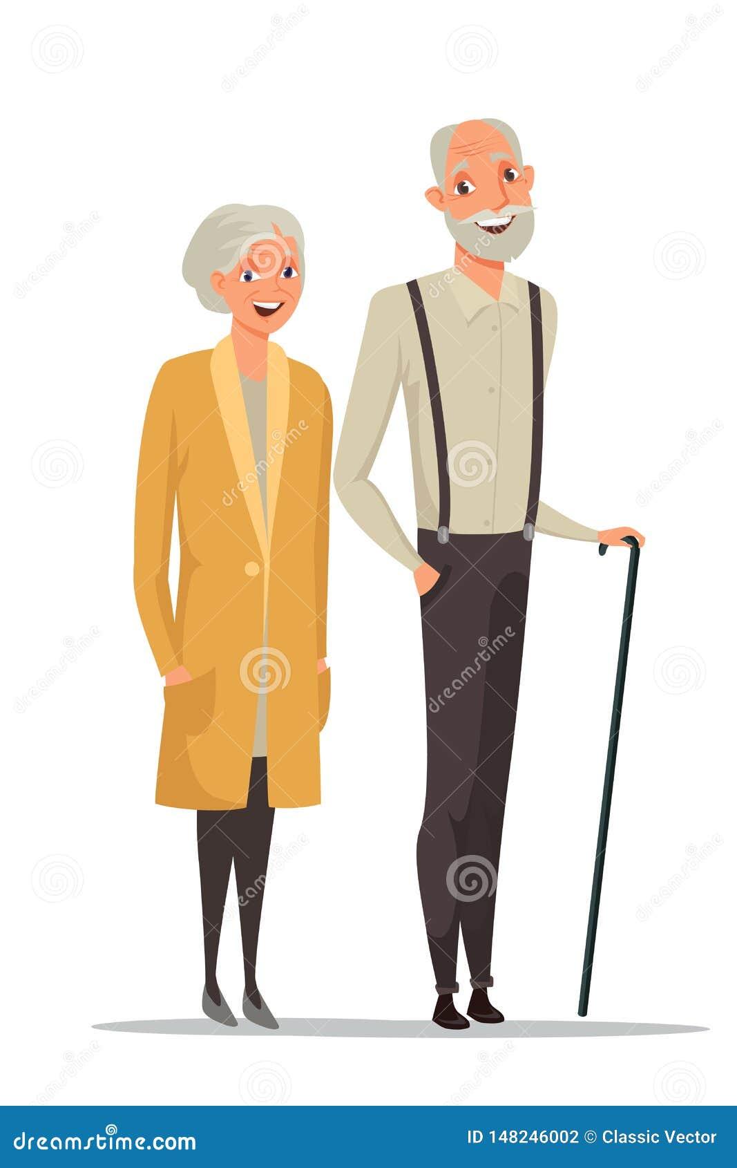 Ältere der Paare Vektorillustration zusammen Farb