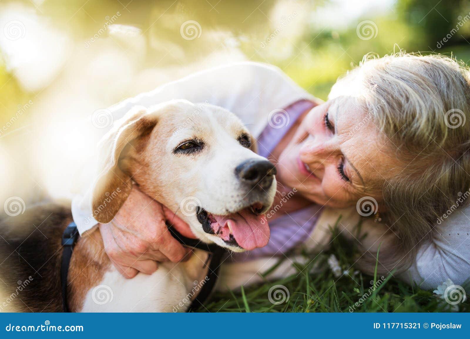 Ältere Frau mit der Hundeim frühjahr Natur, stehend still