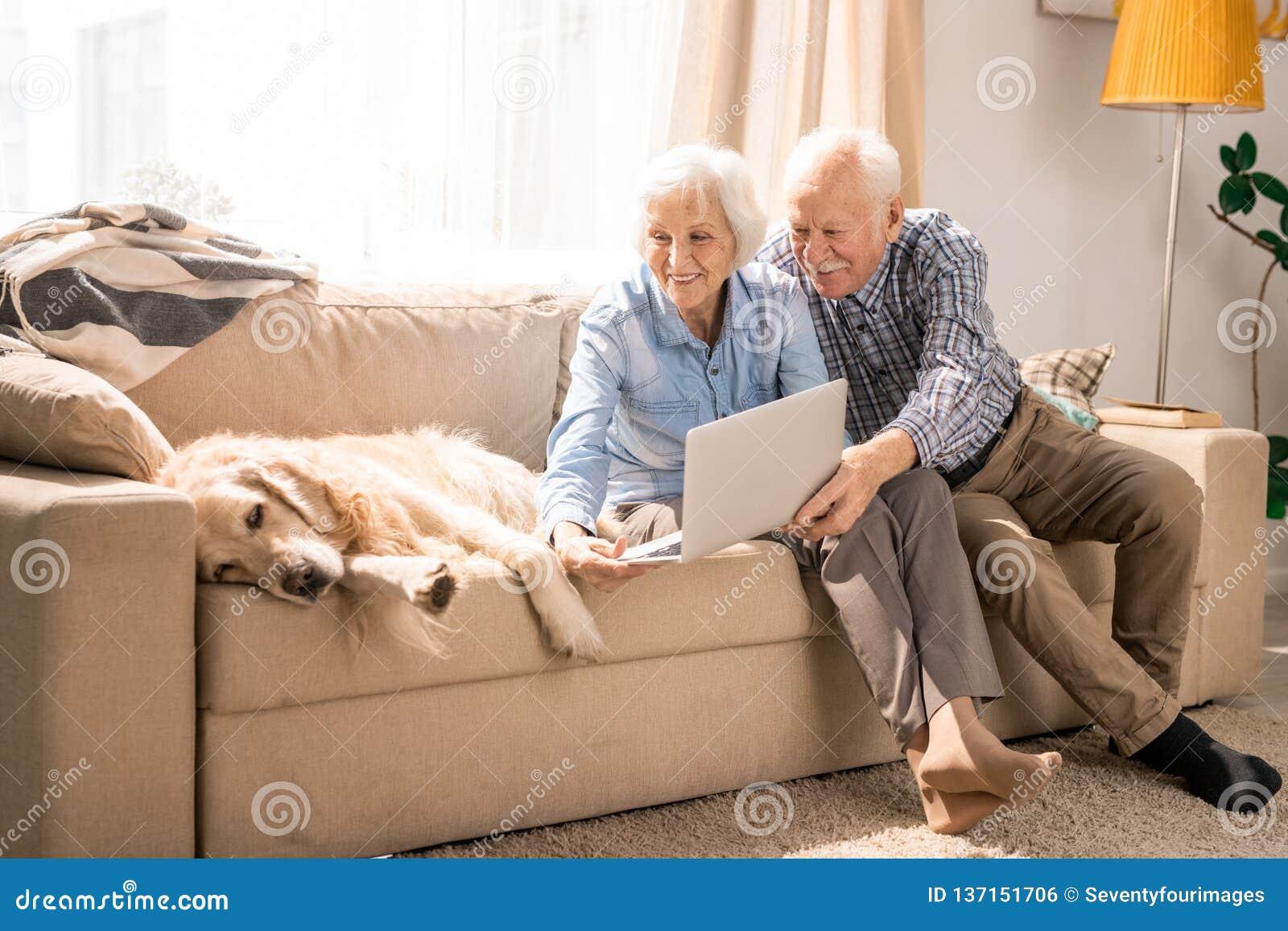 Ältere Paare unter Verwendung des Videoschwätzchens mit Hund