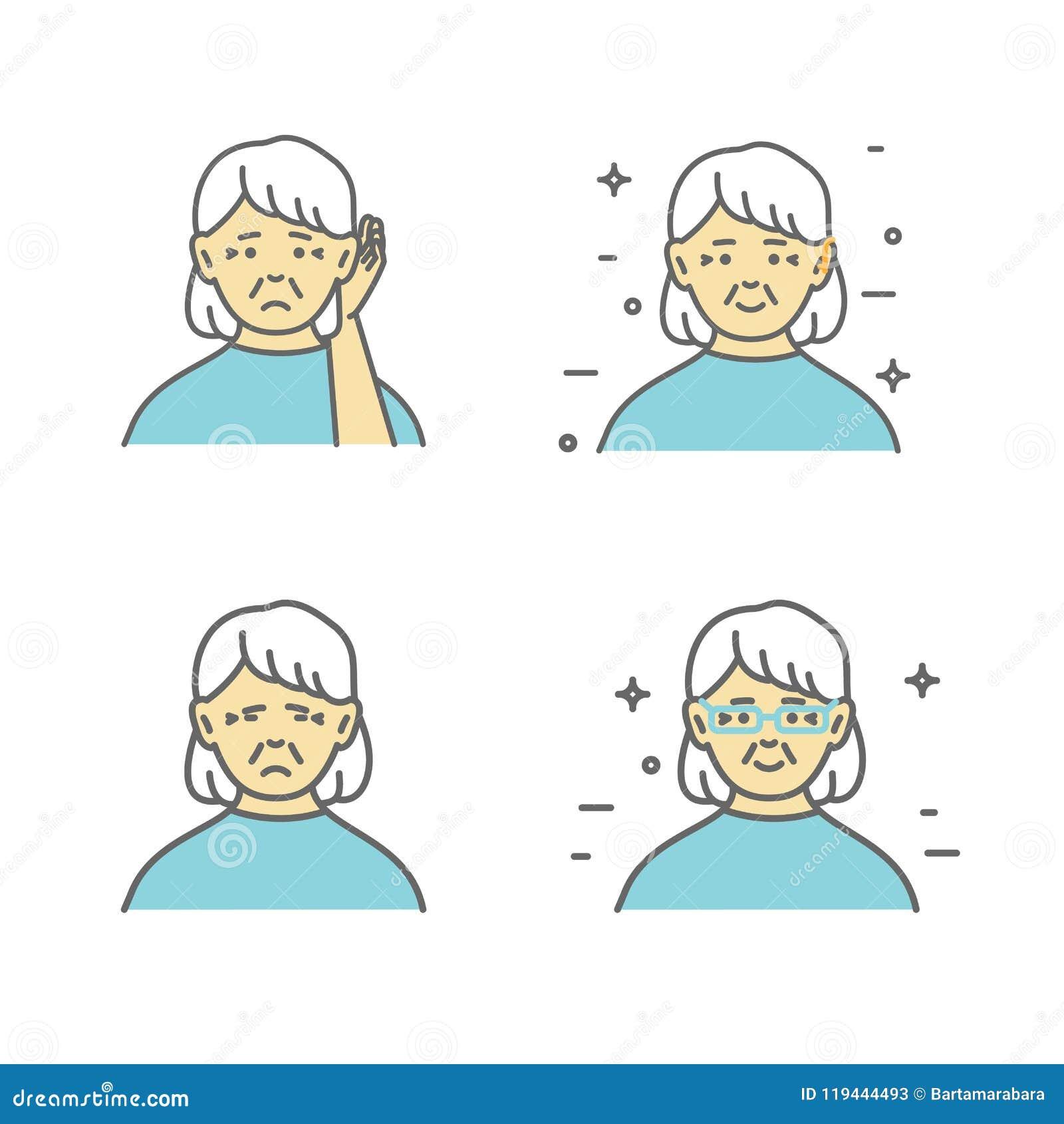 Ältere, schwerhörige Frau, die Hand zu ihrem Ohr hält Vector Kunst, flaches Design auf lokalisiertem Hintergrund