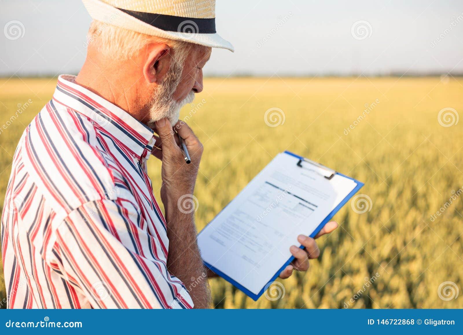 Älterer Landwirt oder Agronom, die Fragebogen bei der Untersuchung des großen Biohofs ergänzen
