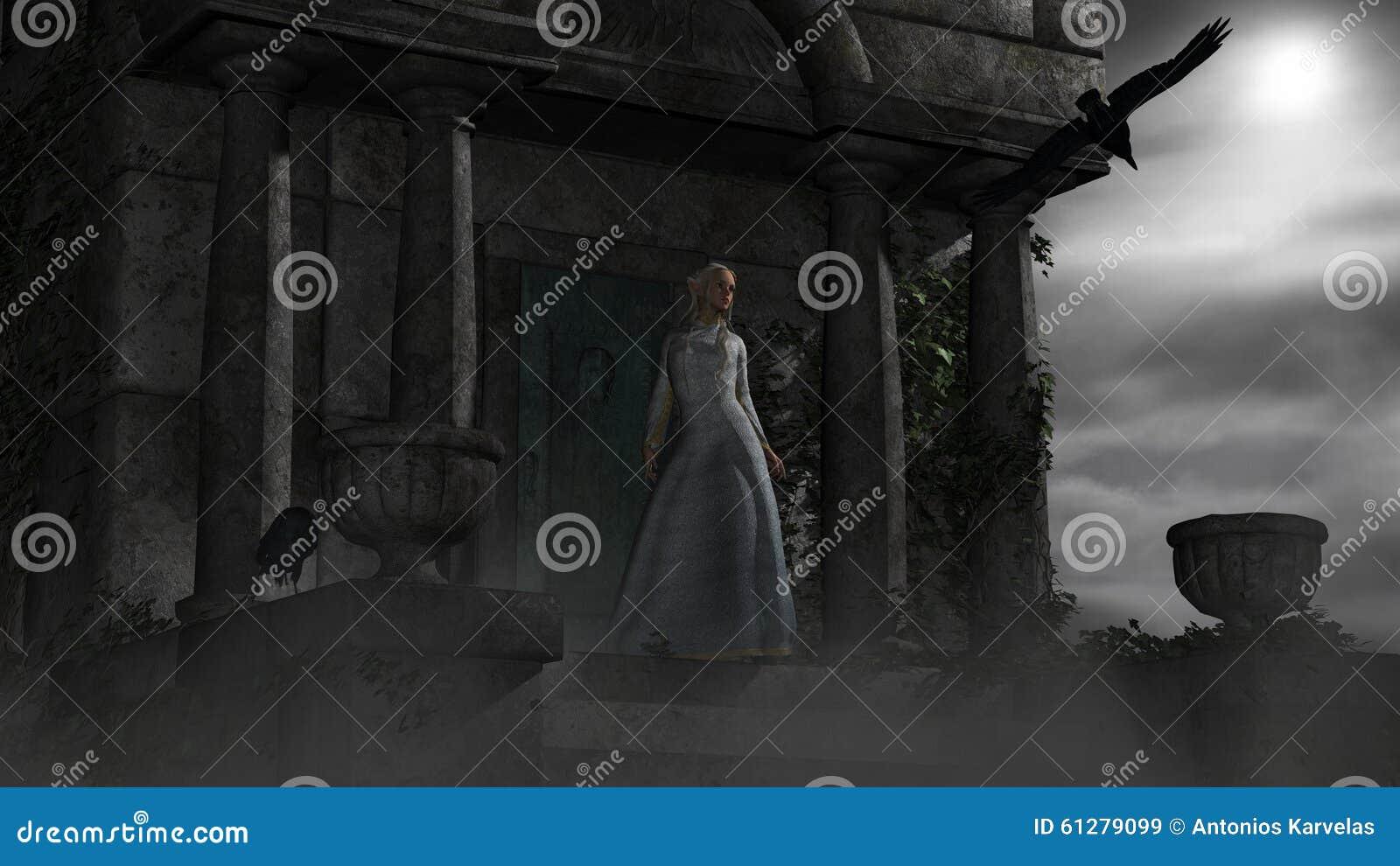 Älvakvinna i gammal spöklik mausoleum i månsken