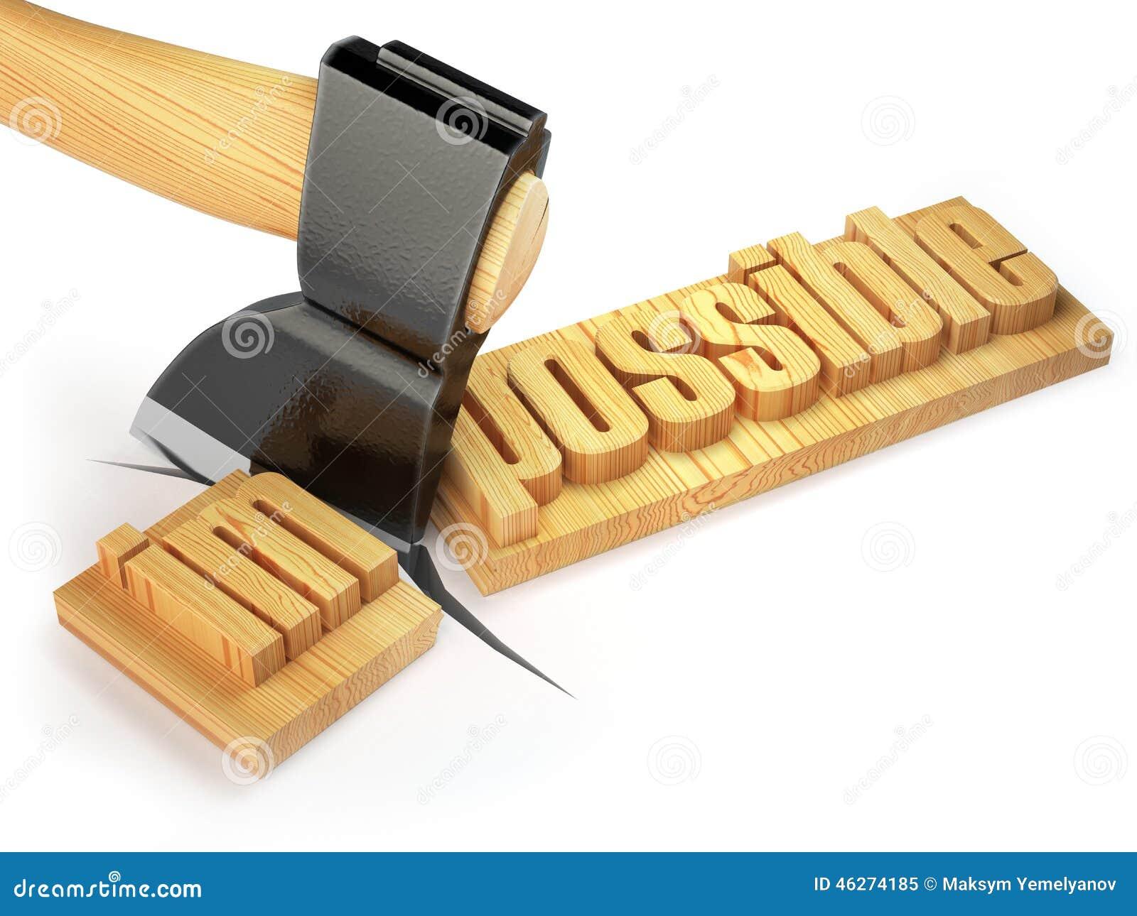 Ändern des Wortes unmöglich in mögliches auf hölzerner Planke mit a