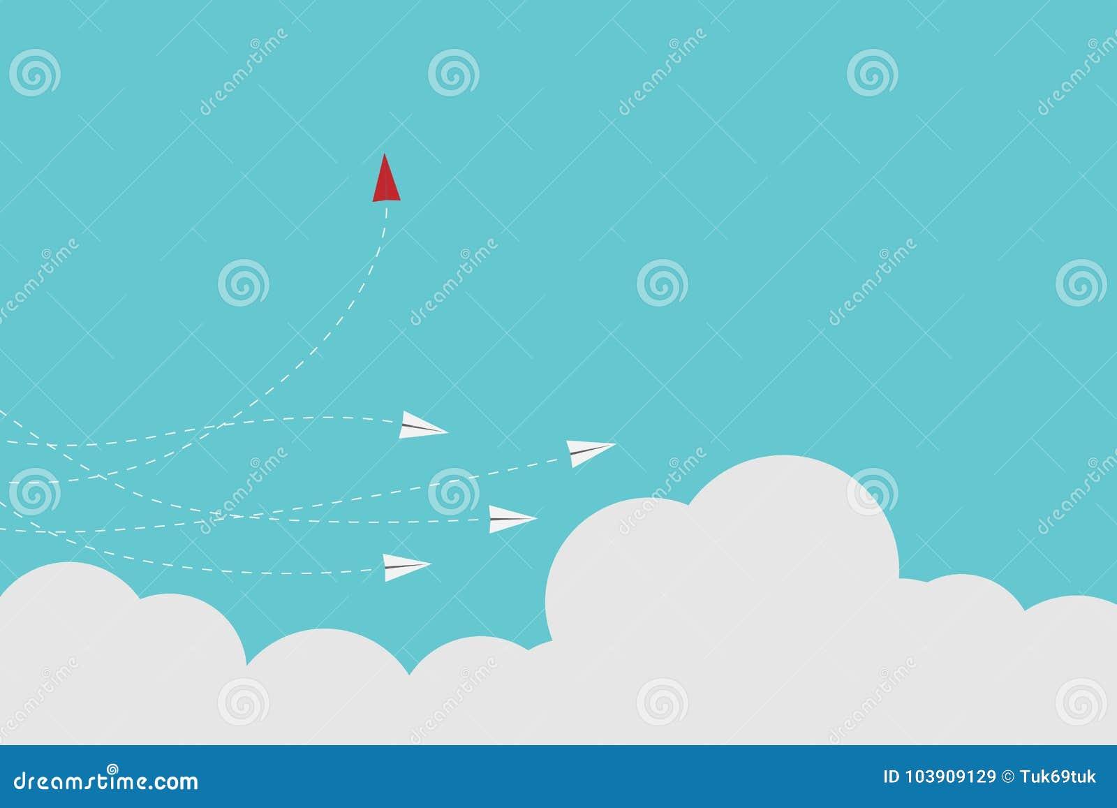 Ändernde Richtung und Weiß des roten Flugzeuges eine Neue Idee, Änderung, Tendenz, Mut, kreative Lösung, Innovation a