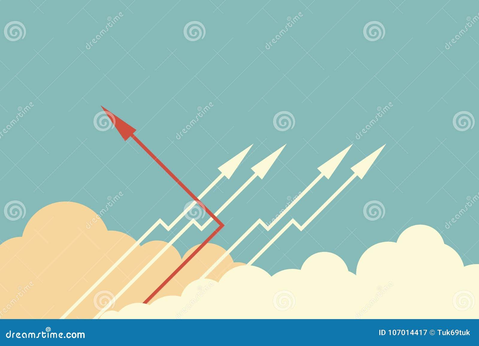 ändernde Richtung und Weiß des roten Pfeiles eine Neue Idee, Änderung, Tendenz, Mut, kreative Lösung, Geschäft, innova
