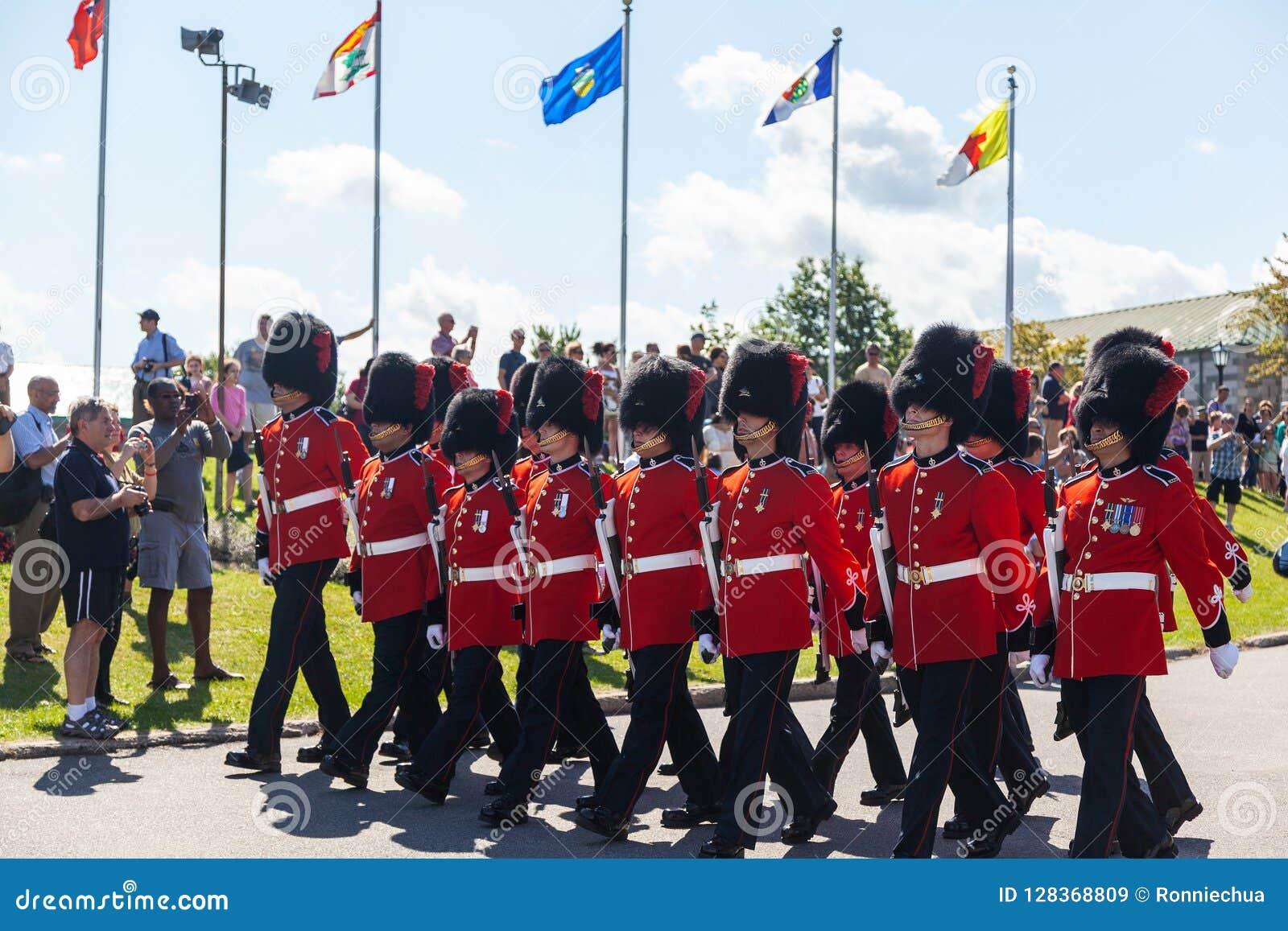 Ändra av vakten Ceremony på Citadelle i gamla Quebec