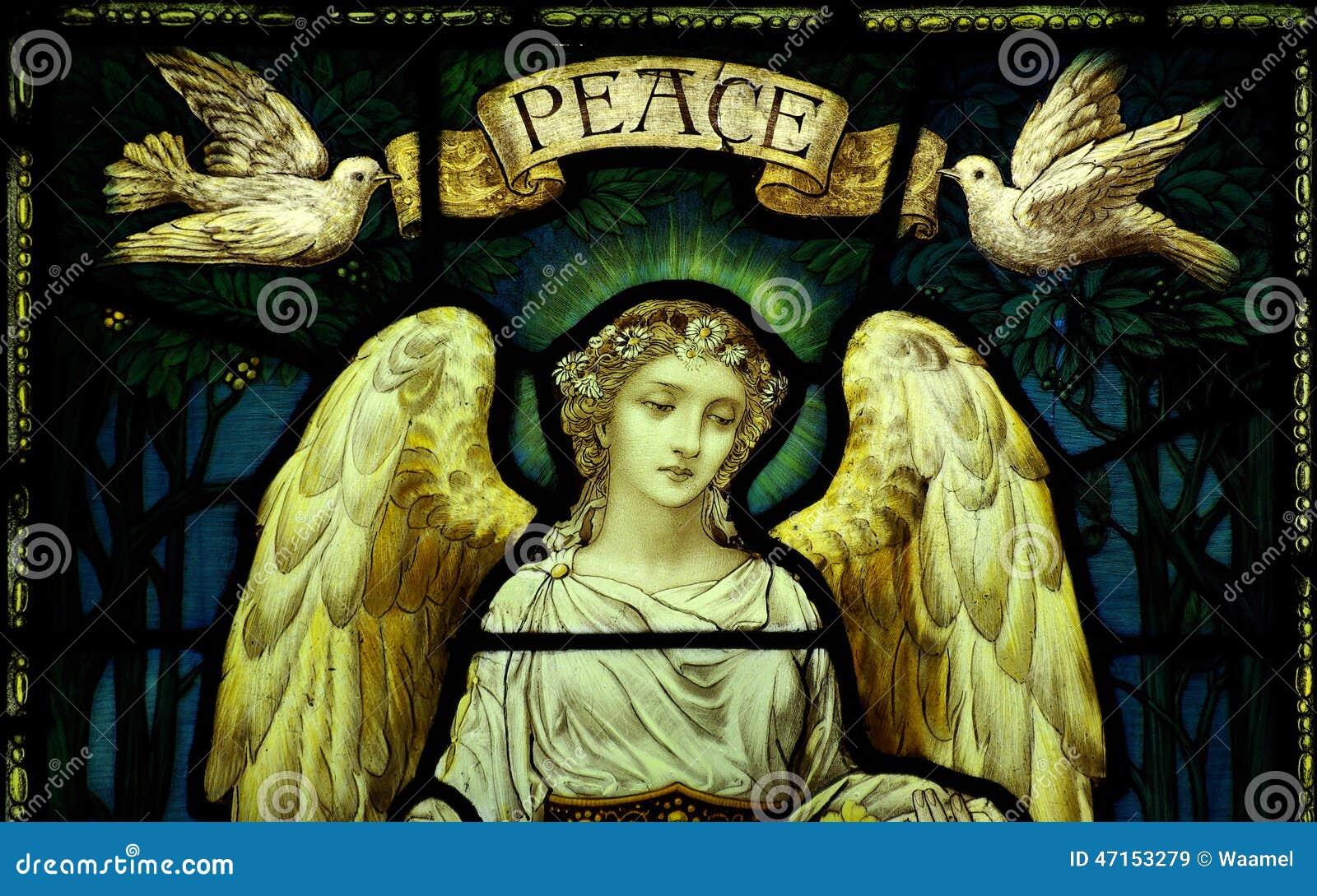 Ängel med duvor och fred