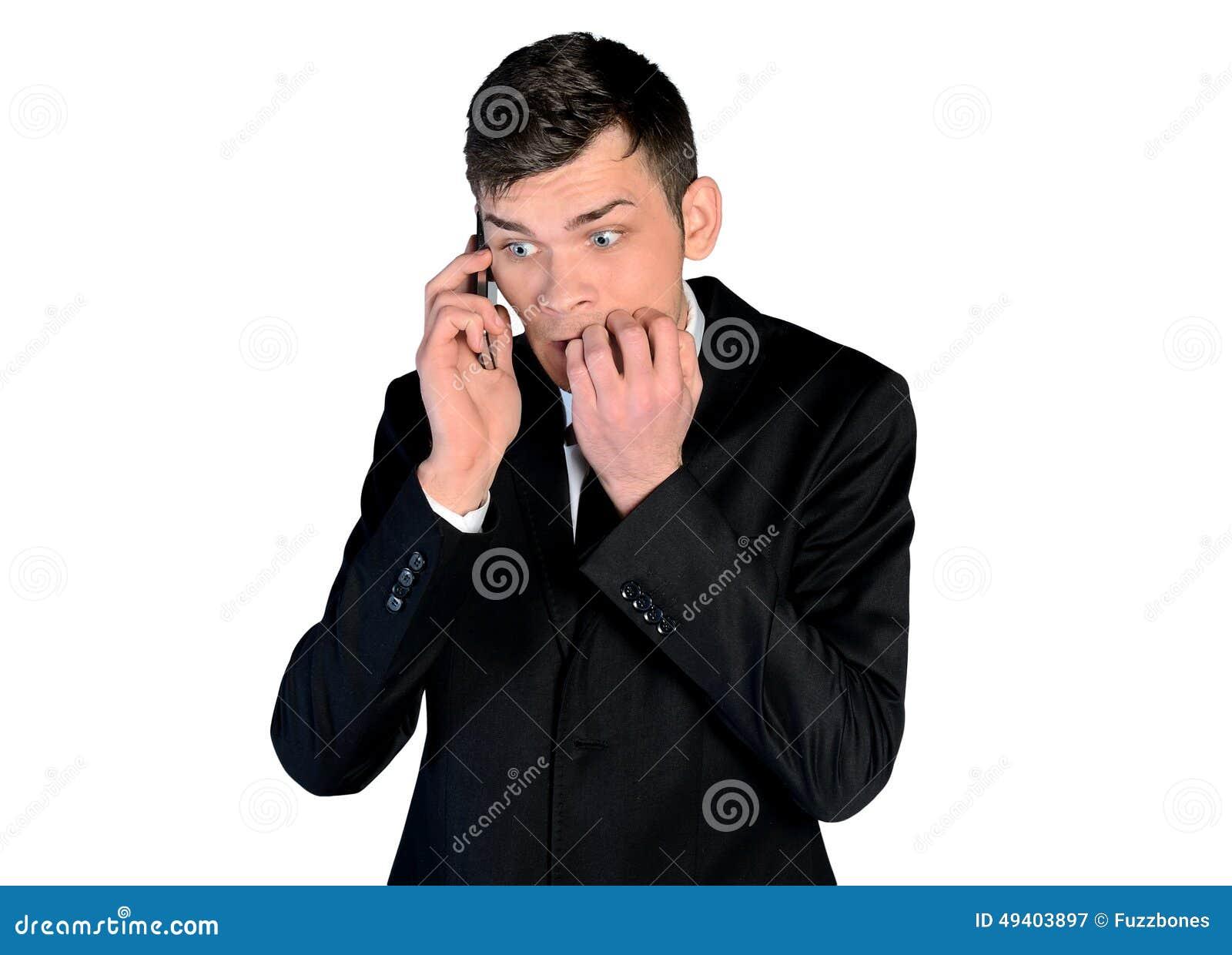 Download Ängstlichgesprächstelefon Des Geschäftsmannes Stockbild - Bild von öffnung, aufgeregt: 49403897