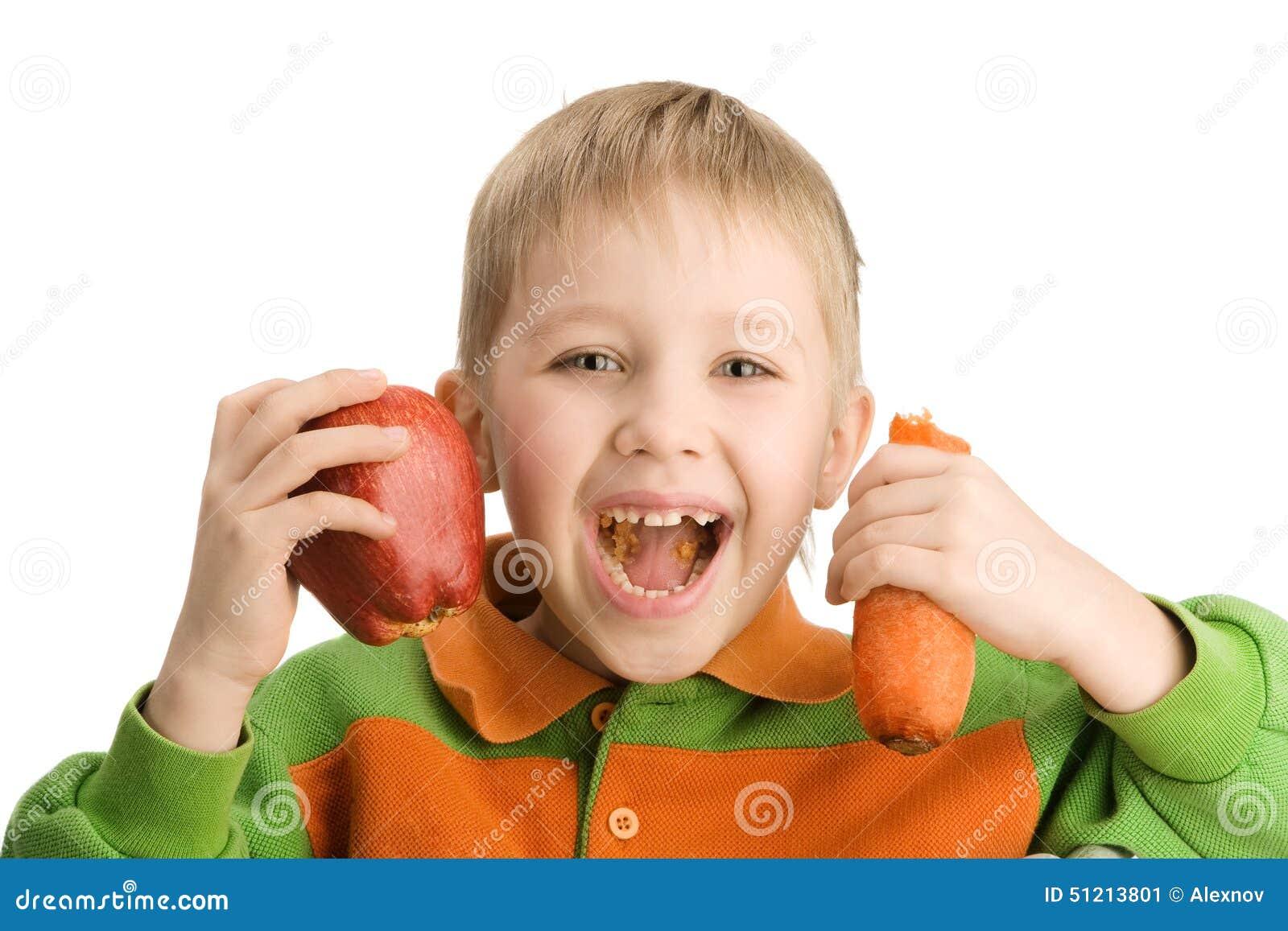 Äpple och morot för lycklig pys stickande