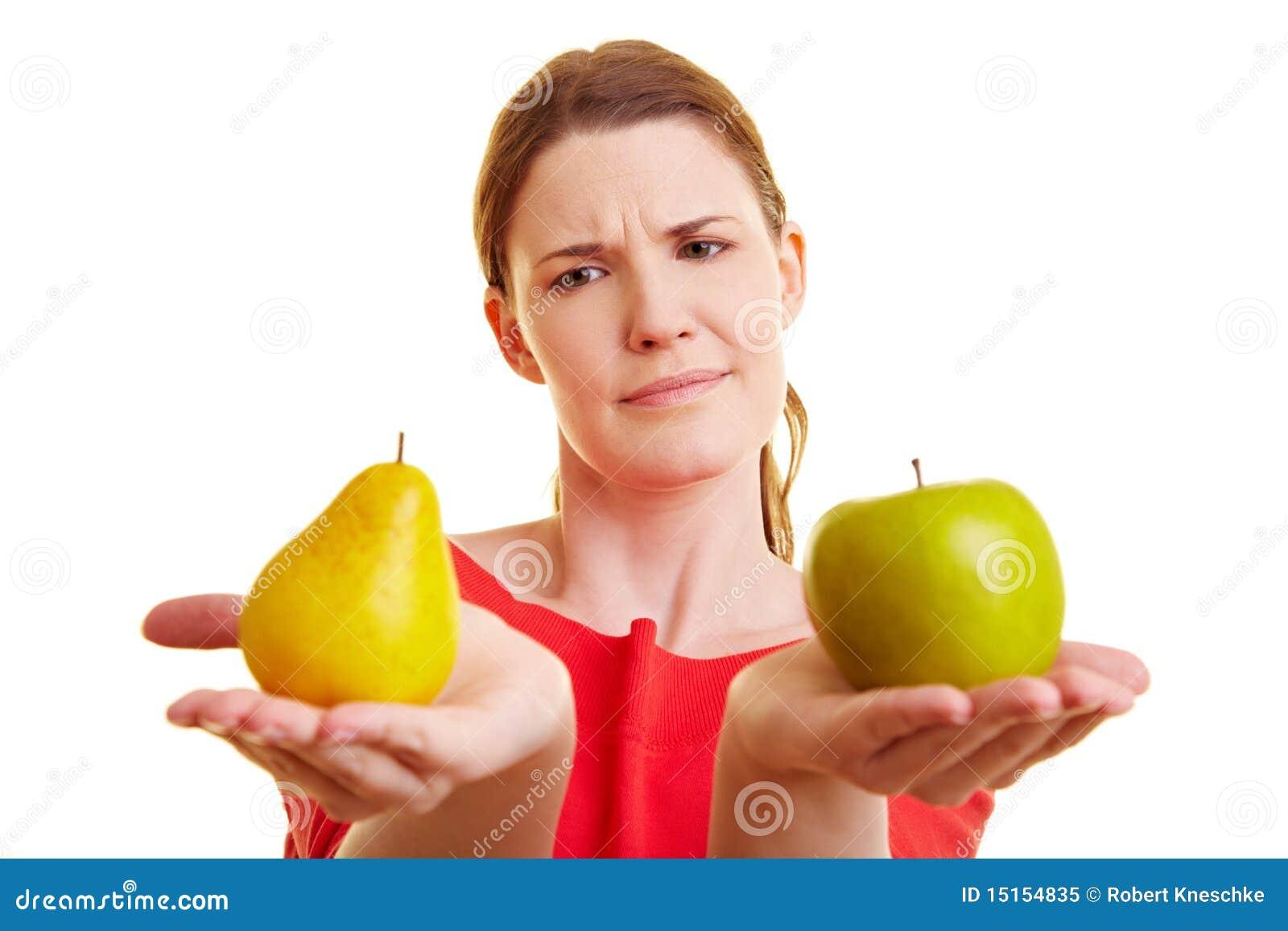 äpple som jämför pearkvinnan