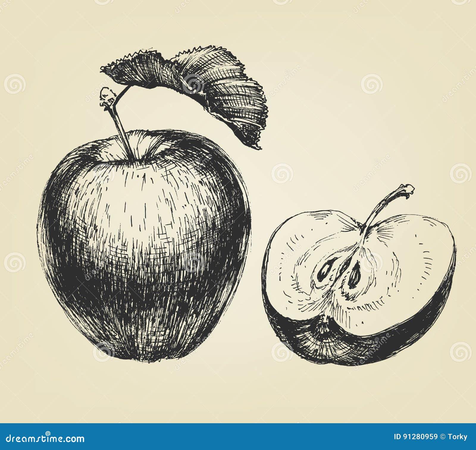äpple tecknad hand