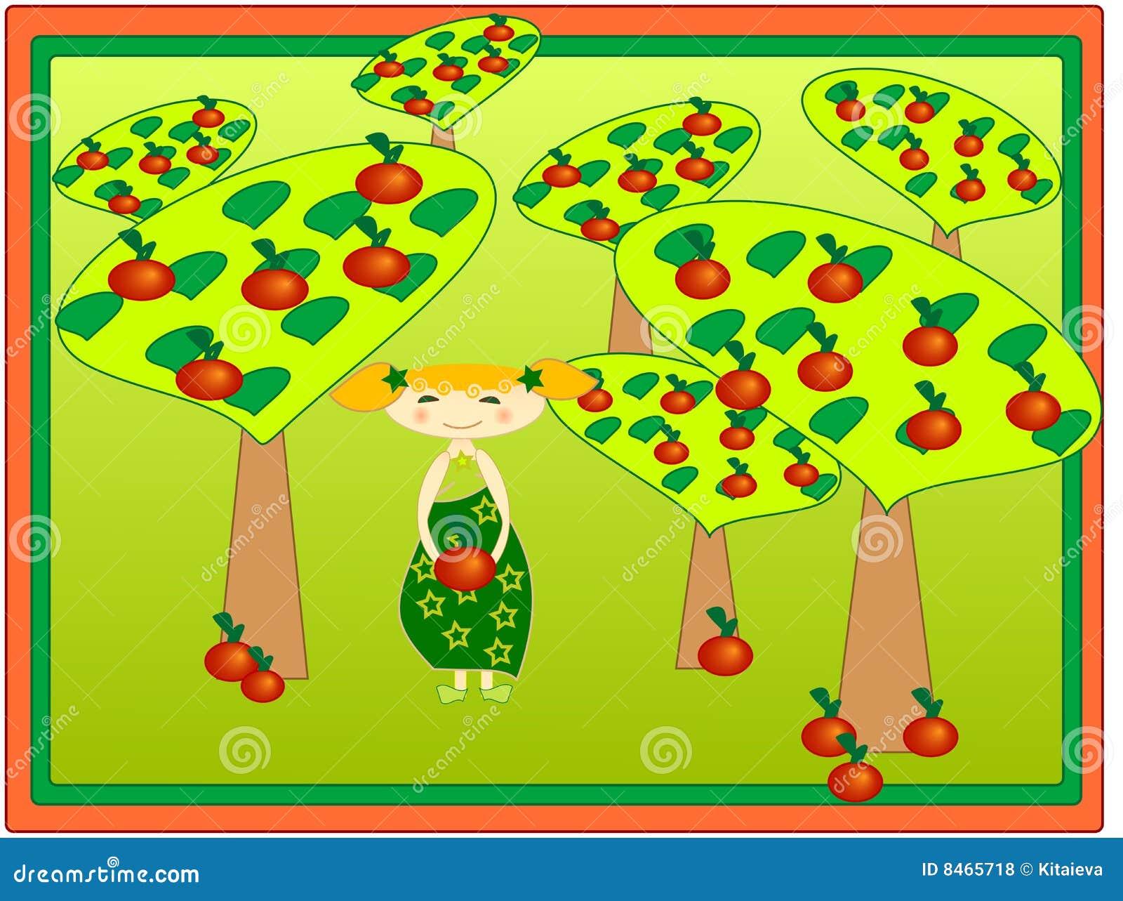 äppleflickafruktträdgård
