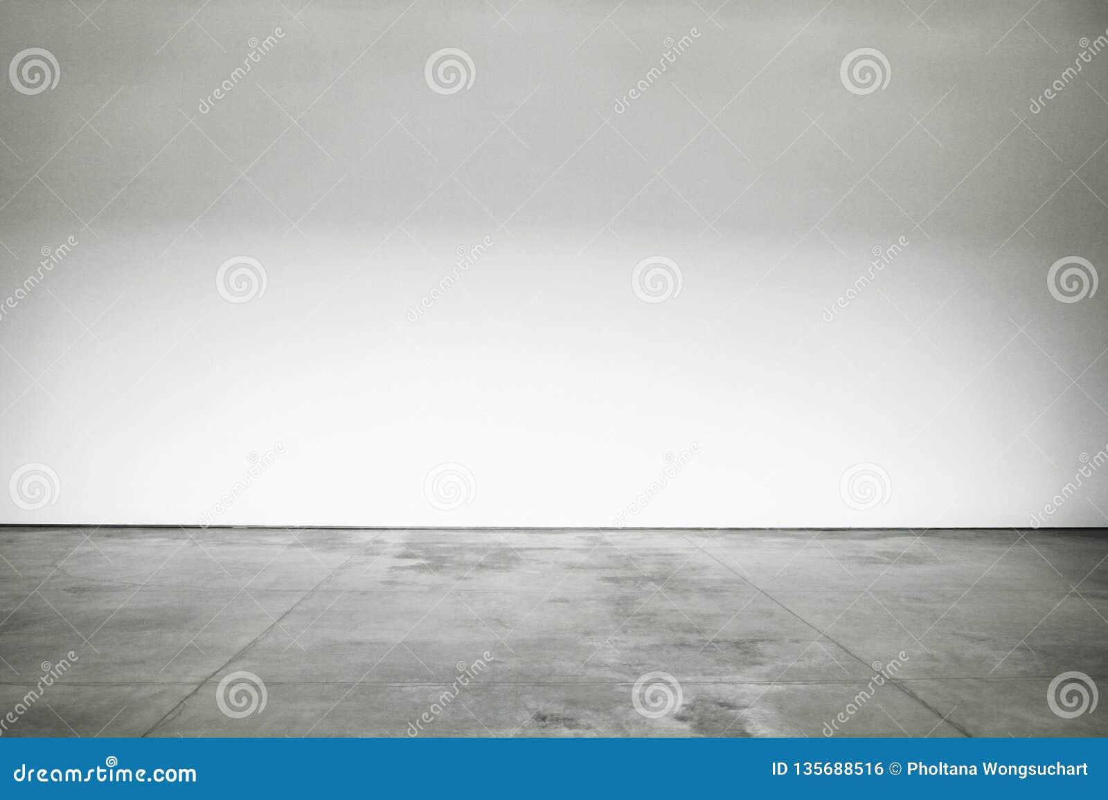 Är det polerade cementgolvet för stort öppet rum och väggarna målat vitt