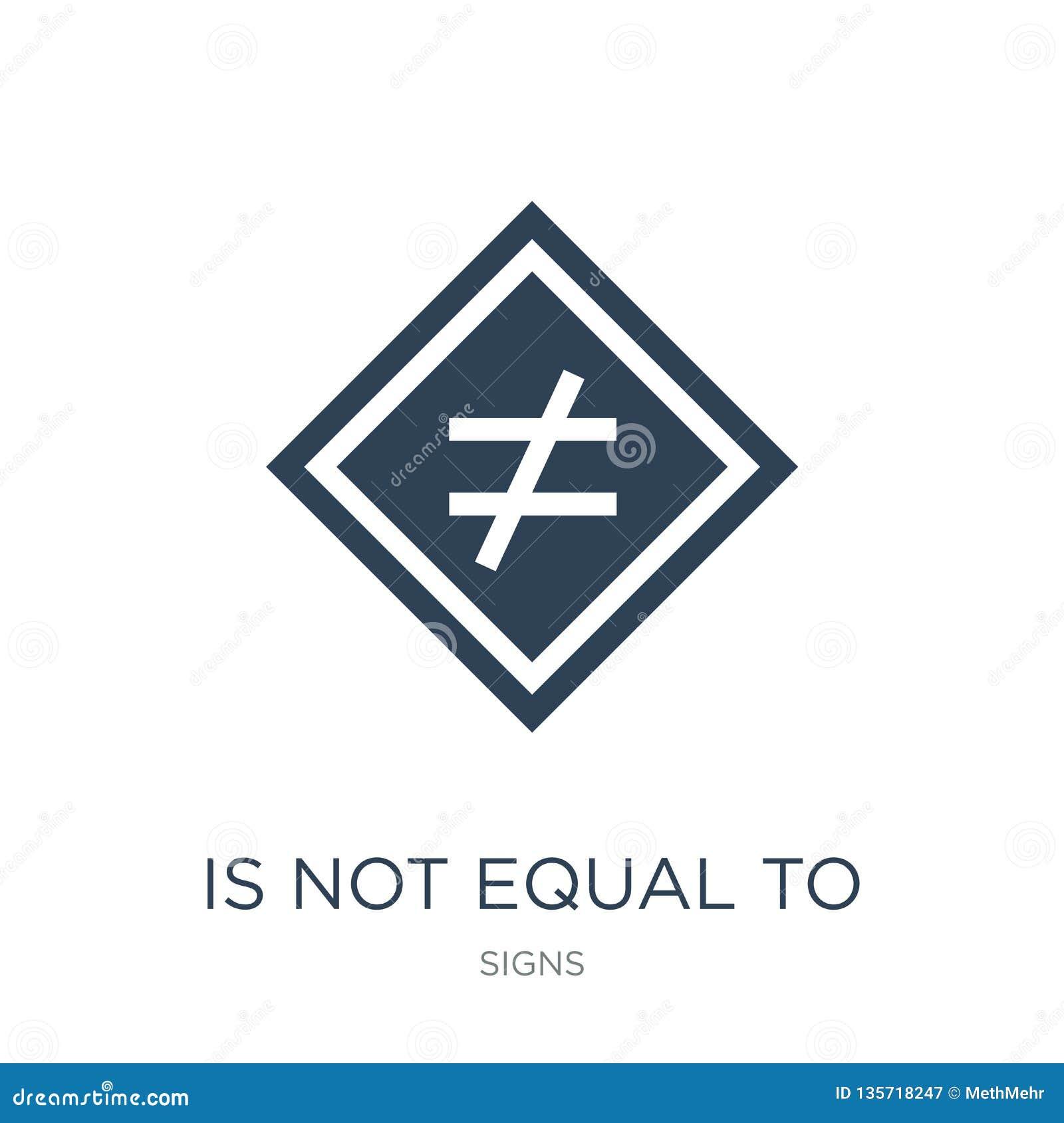 är inte jämbördigt till symbolen i moderiktig designstil är inte jämbördigt till symbolen som isoleras på vit bakgrund inte jämbö