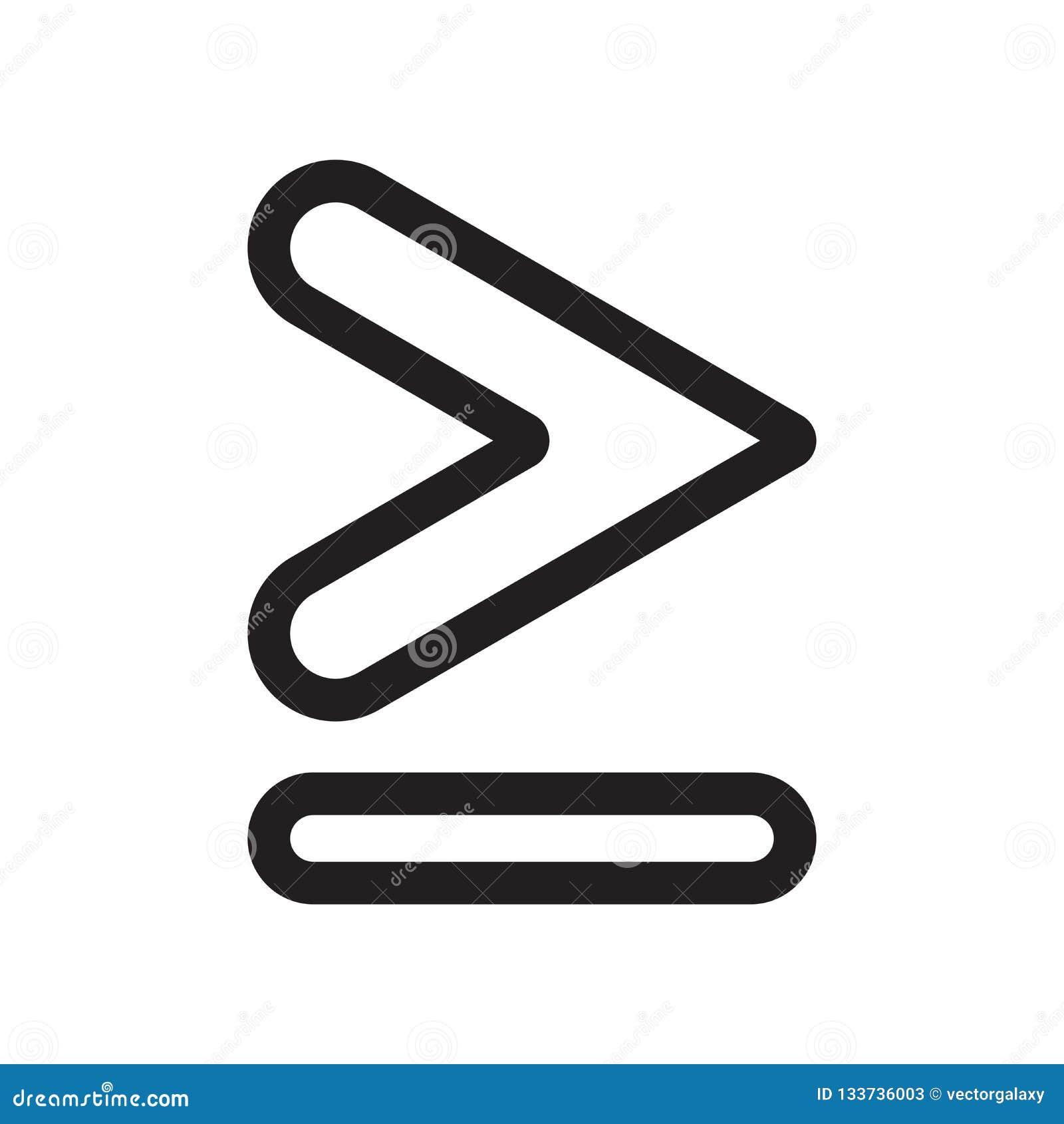 Är jämbördigt till eller större, än tecknet och symbolet för symbolsymbolsvektor som isoleras på vit bakgrund, är jämbördiga till