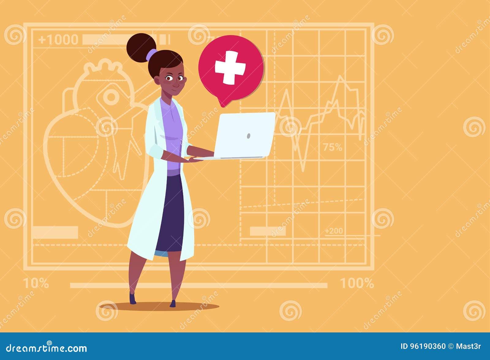 Ärztin-Hold Laptop Computer-on-line-Beratungs-medizinische Klinik-Afroamerikaner-Arbeitskraft-Krankenhaus