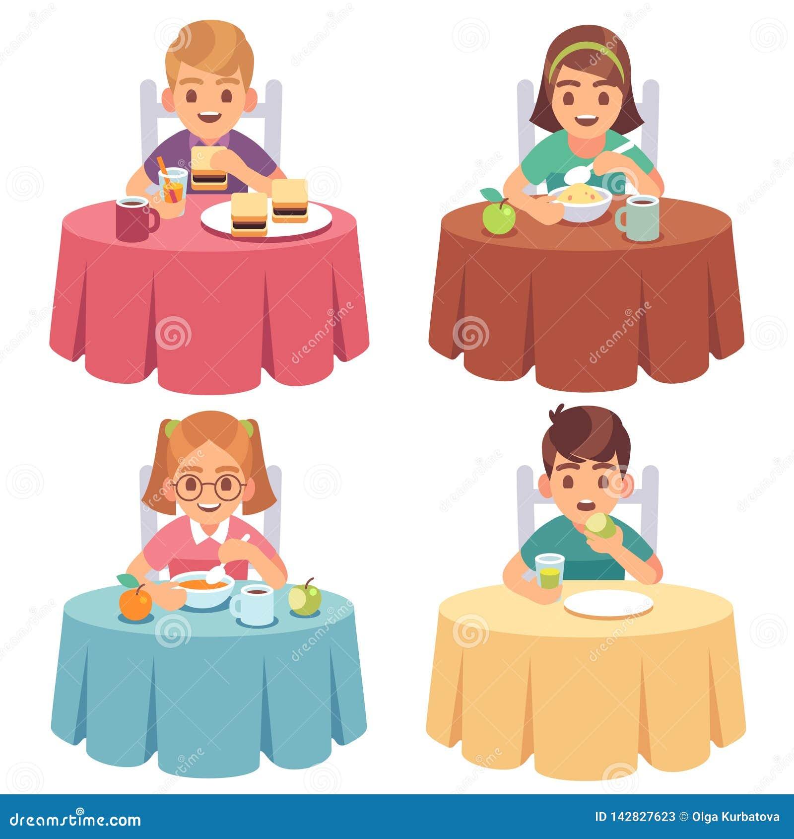 Äta för barn Ungar äter snabbmat för lunch för frukosten för barnet för matställetabellen som äter middag uppsättningen för tecke