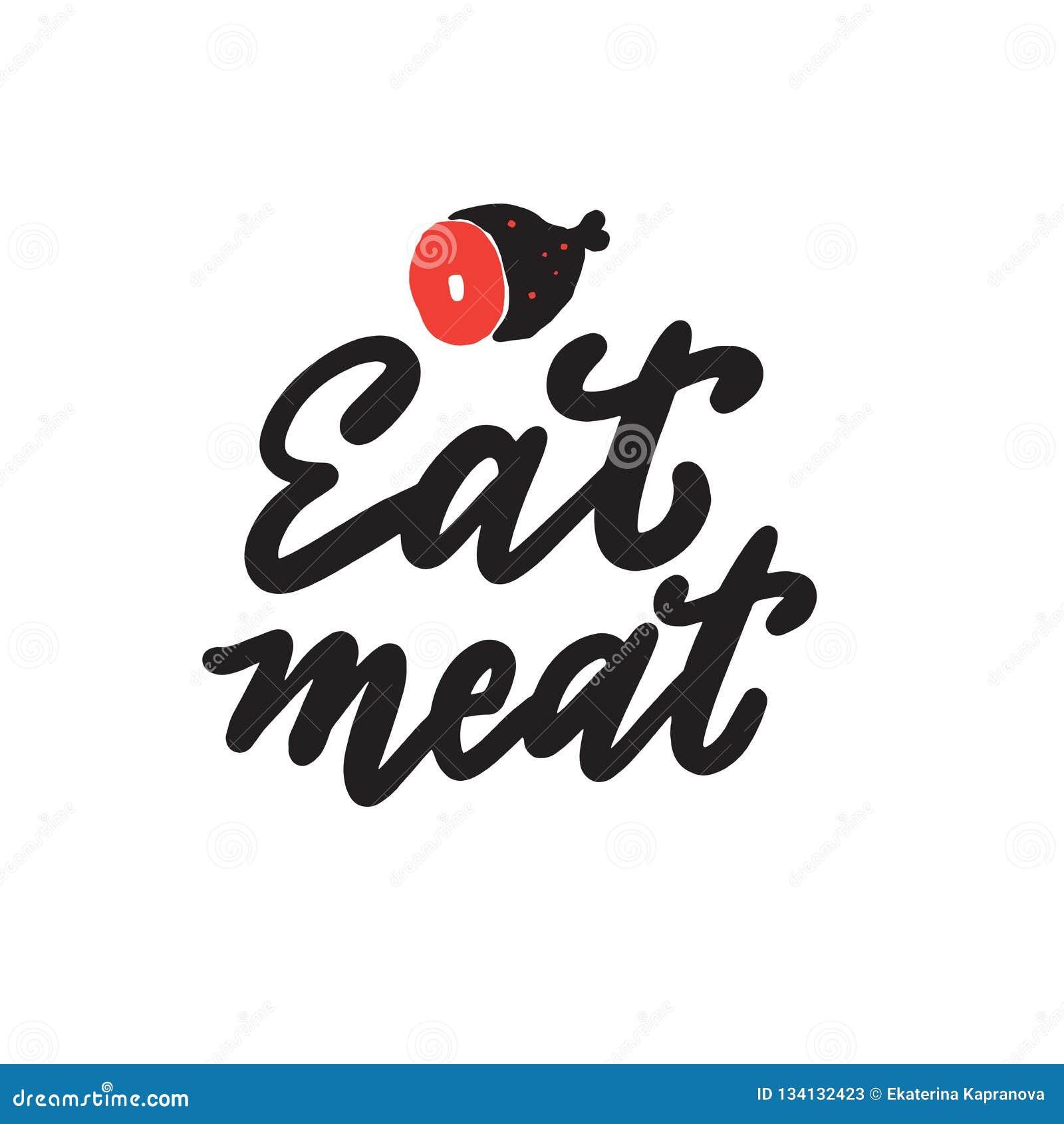 äta meat Dragen rolig hand märka citationstecken Illustration av skinka
