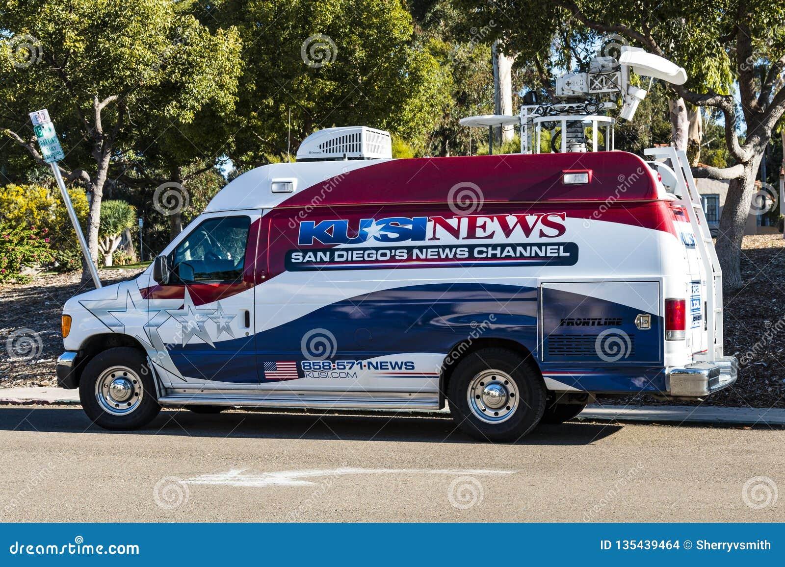 Äußere Nachrichten-Stations-Sendung Van