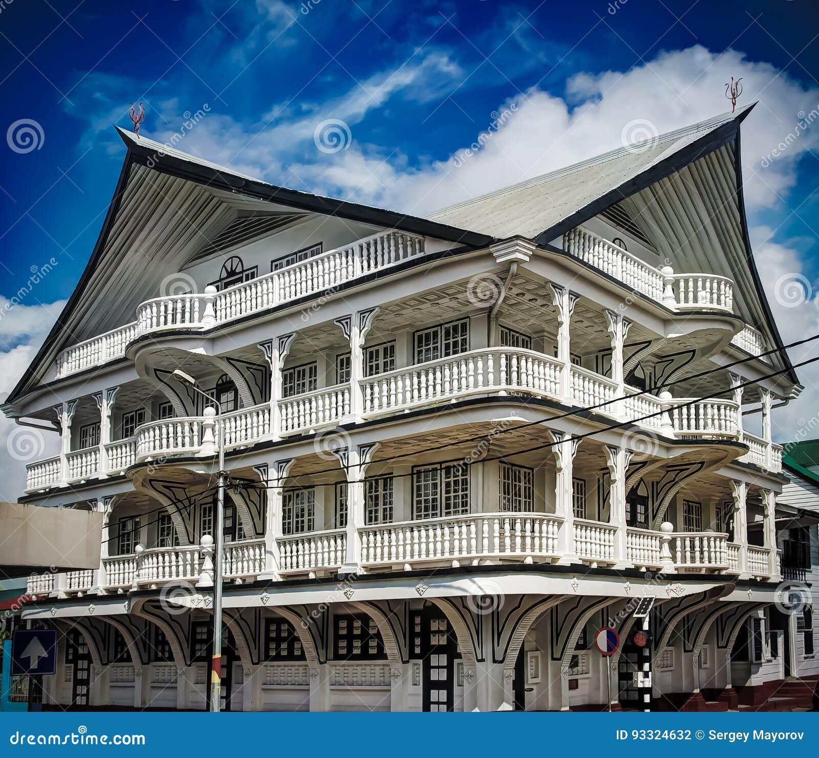 Äußeres des Hauses in der historischen Stadt von Paramaribo, Surinam